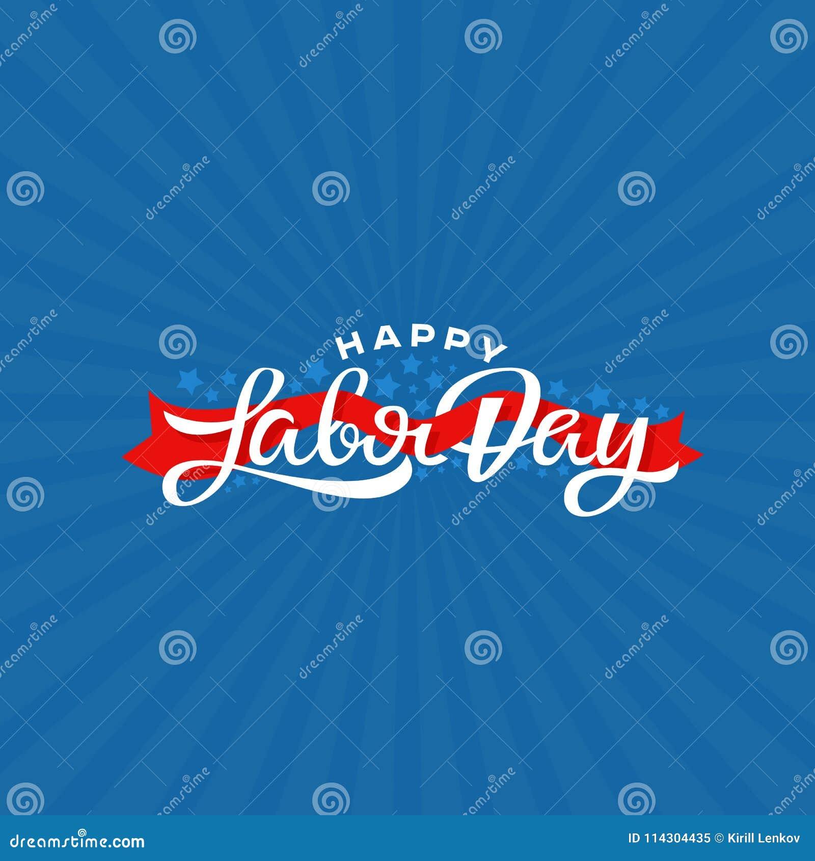 Ejemplo feliz del vector de las letras de Día del Trabajo Tarjeta de felicitación de la festividad nacional