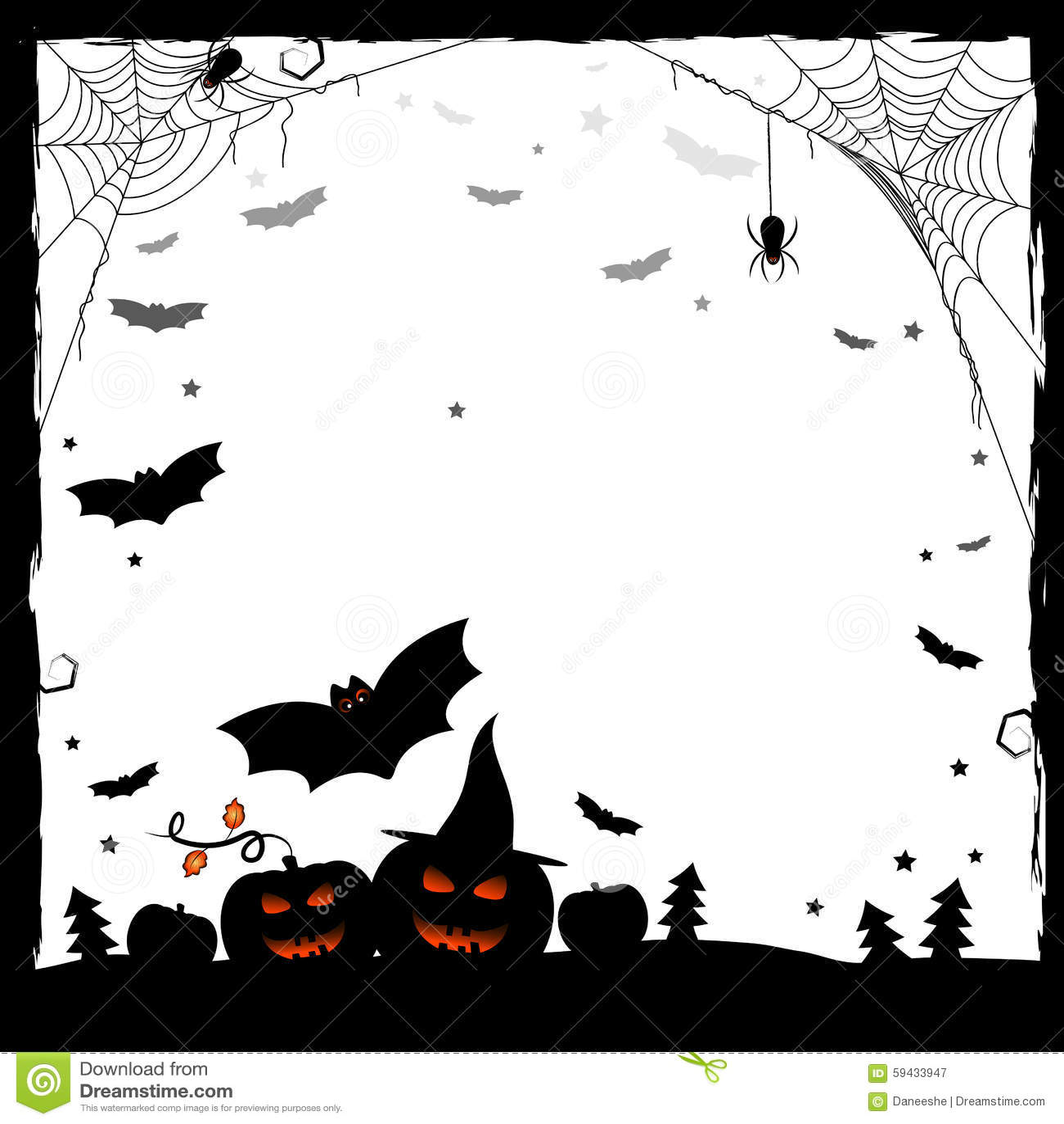 Ejemplo Festivo Para Halloween Marco Blanco Y Negro Ilustración del ...