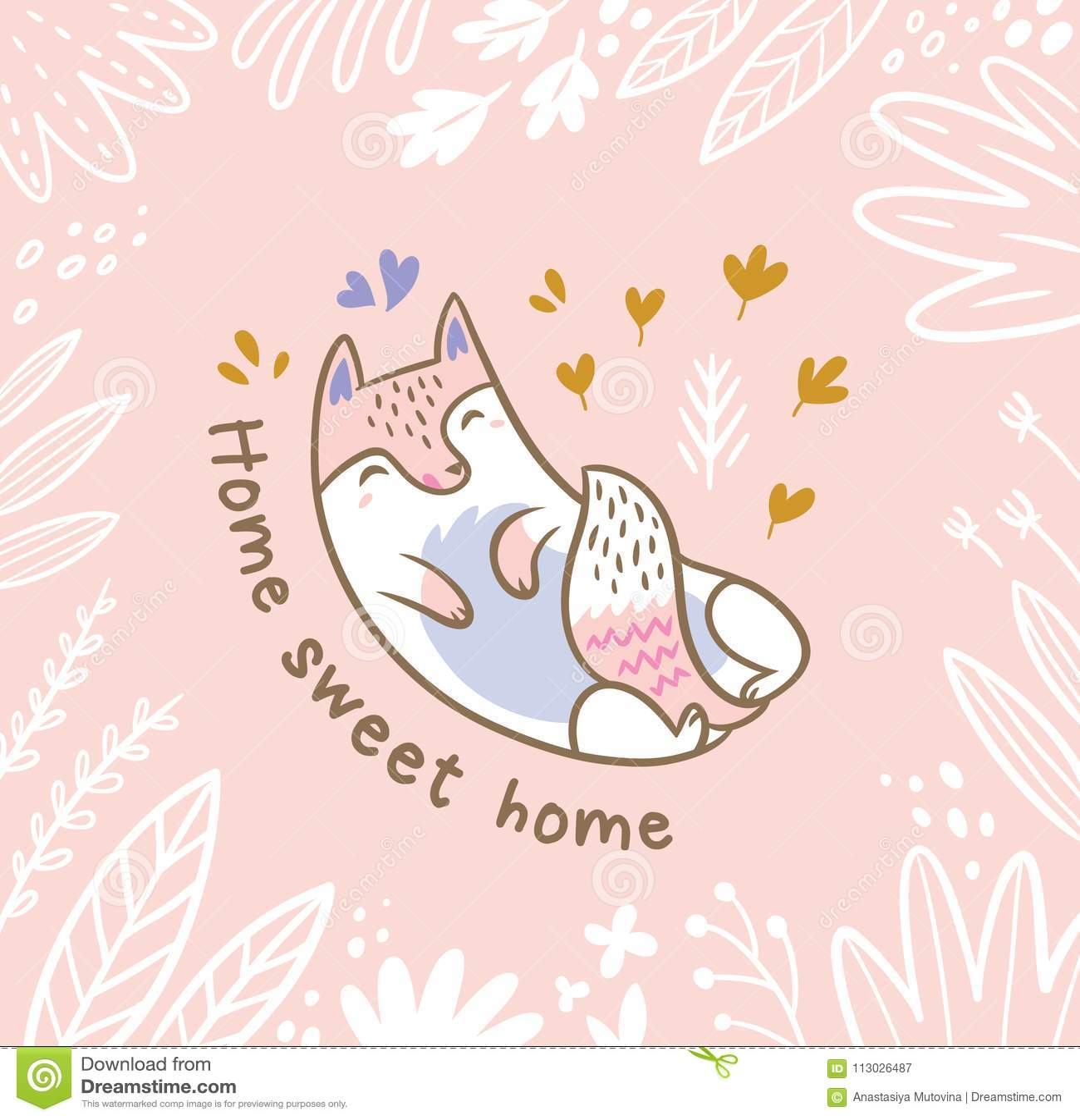 Ejemplo floral con el gato o el zorro blanco en las hojas Texto casero dulce casero