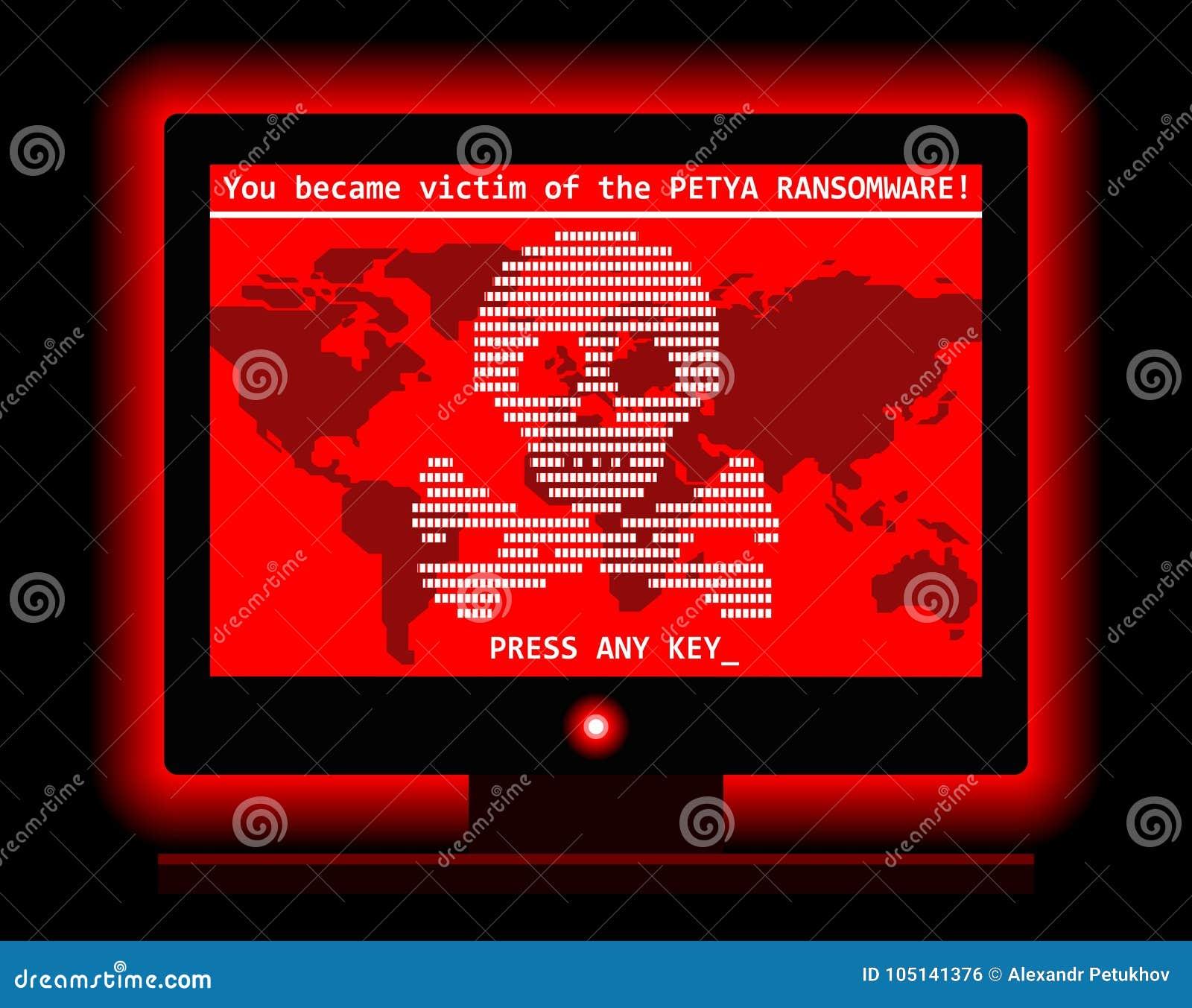 Ejemplo fresco de la pantalla cibernética del ataque del virus de ordenador de Ransomware