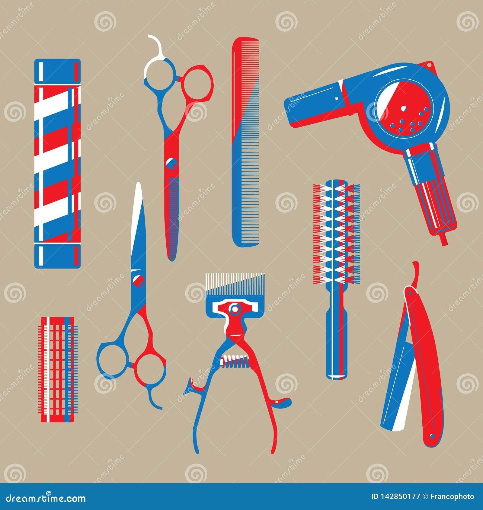 Ejemplo gráfico de los artículos de la barbería del vintage
