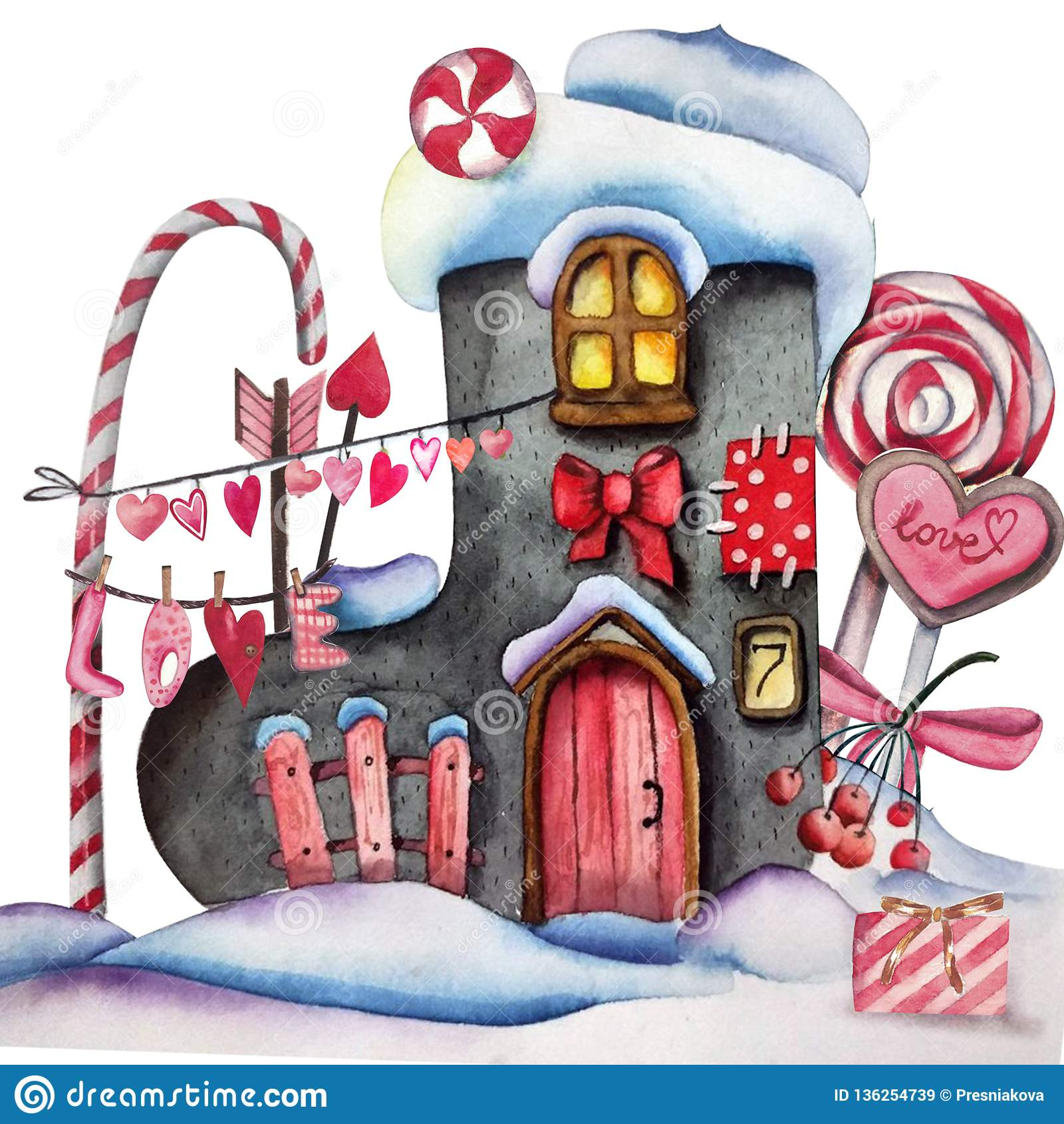 Ejemplo Handdrawn de la acuarela aislado en el fondo blanco Casa de la bota del fieltro del día de tarjeta del día de San Valentí
