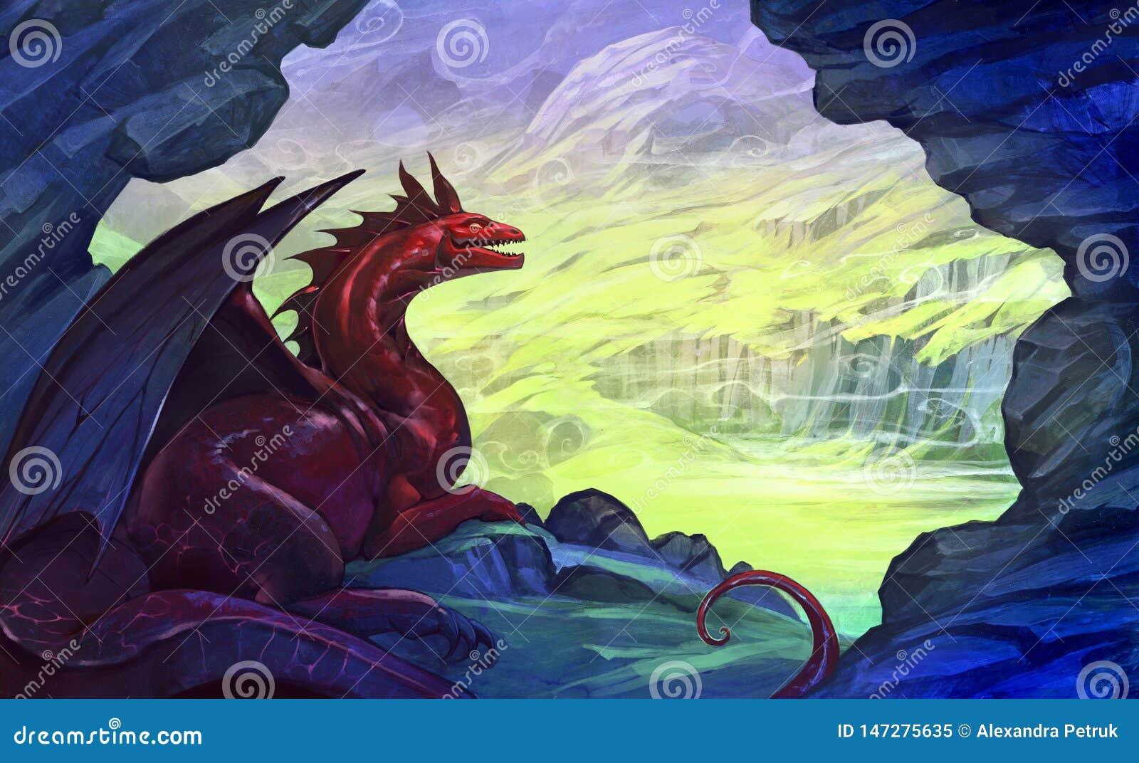 Ejemplo horizontal del paisaje de la fantasía de Digitaces con un dragón rojo que descansa en la cueva