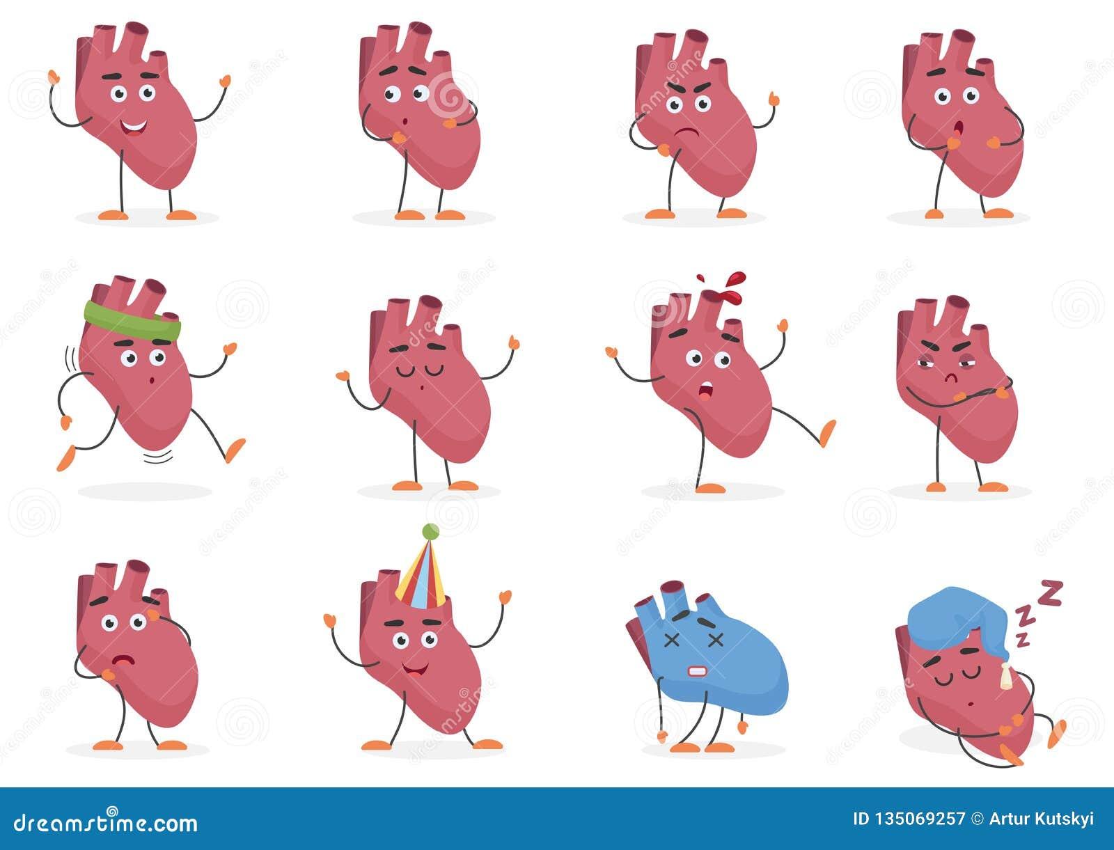 Ejemplo humano del vector del sistema de las emociones y de las actitudes del órgano interno del corazón de la historieta linda
