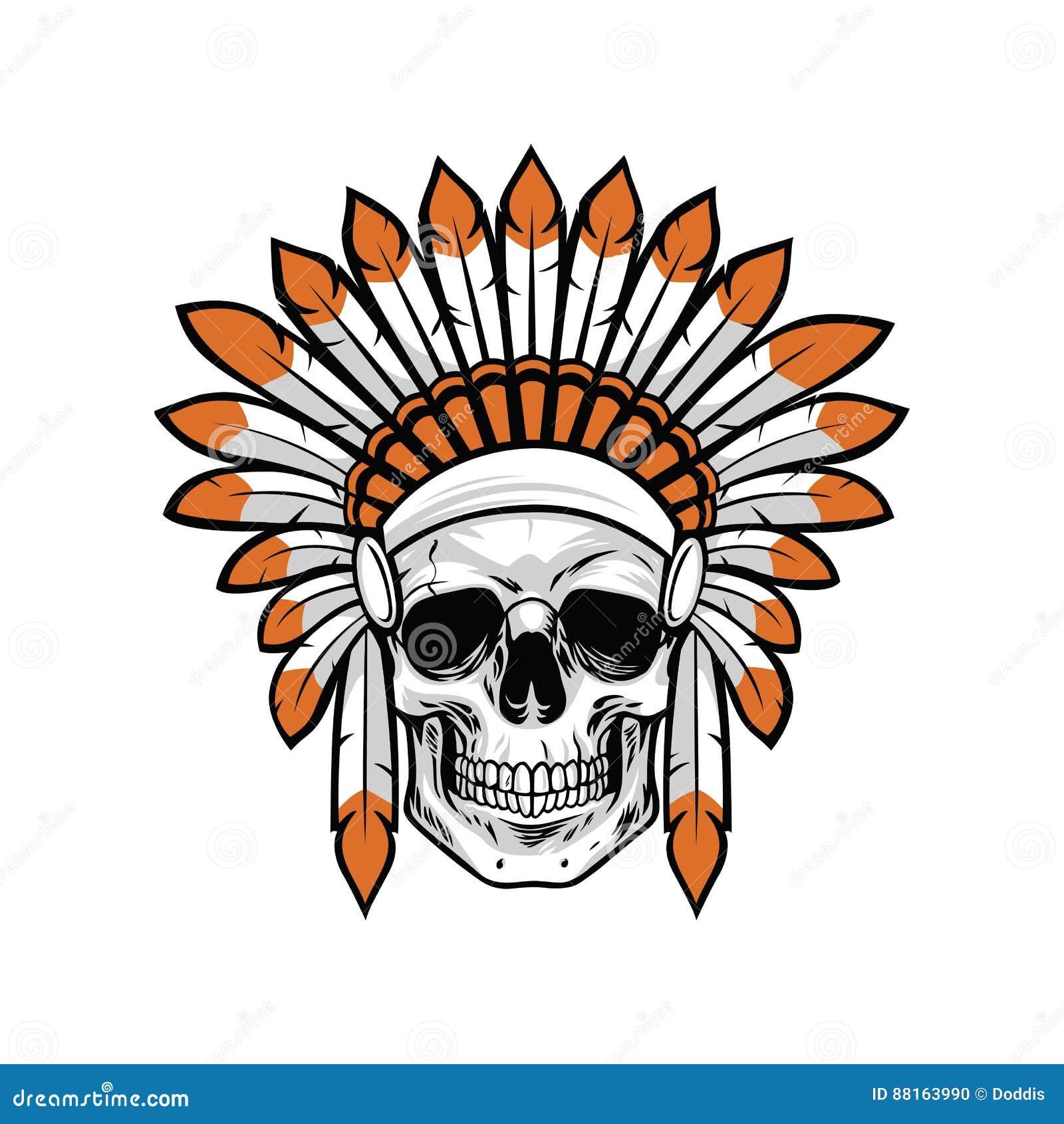 Ejemplo Indio Del Vector Del Cráneo Del Nativo Americano Ilustración ...