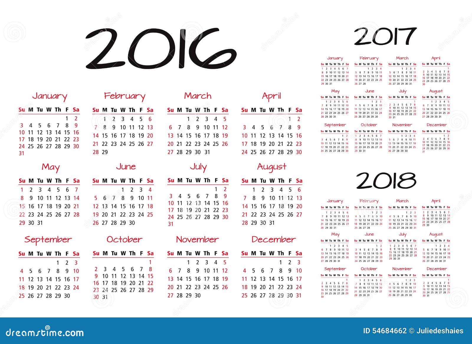 ... Calendario 2016-2017-2018 Ilustración del Vector - Imagen: 54684662