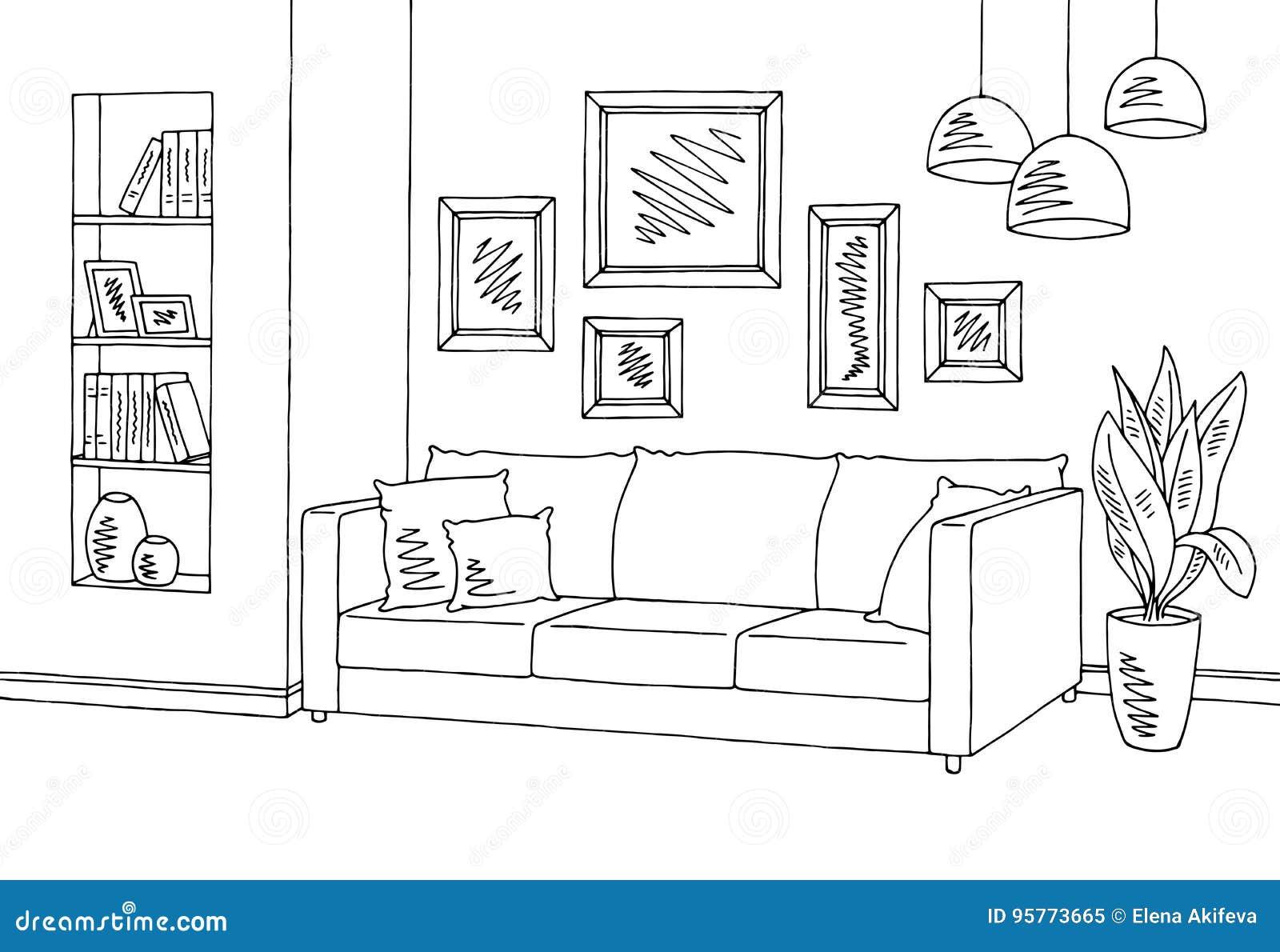 Ejemplo interior blanco negro gr fico del bosquejo de la for Sala de estar blanco y negro
