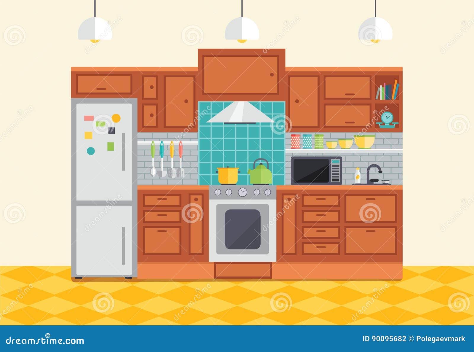 Ejemplo Interior Del Vector De La Cocina Muebles Planos Del Diseño Y ...