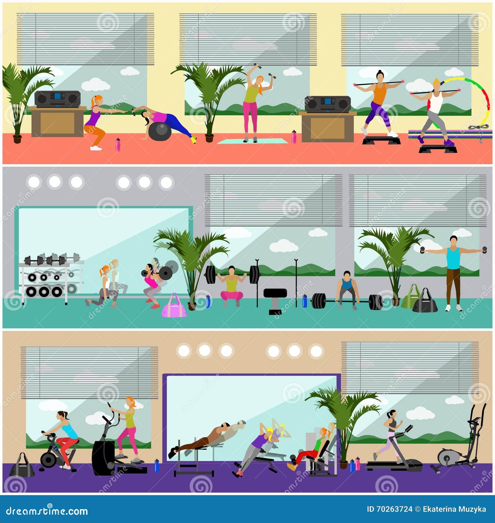 Ejemplo interior del vector del centro de aptitud La gente se resuelve en banderas horizontales del gimnasio Concepto de las acti