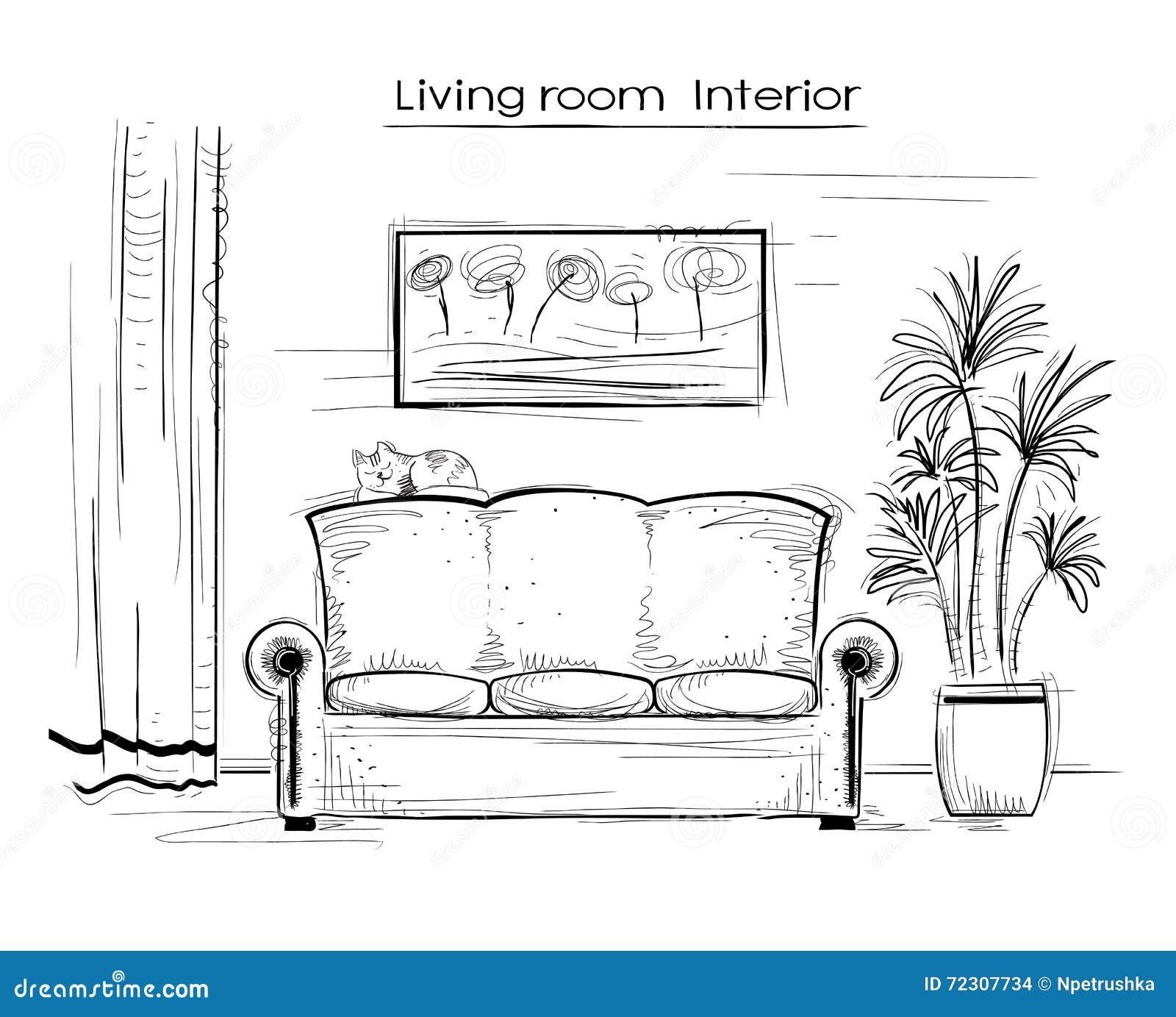 Ejemplo interior incompleto de la sala de estar dibujo de for Sala de estar dibujo