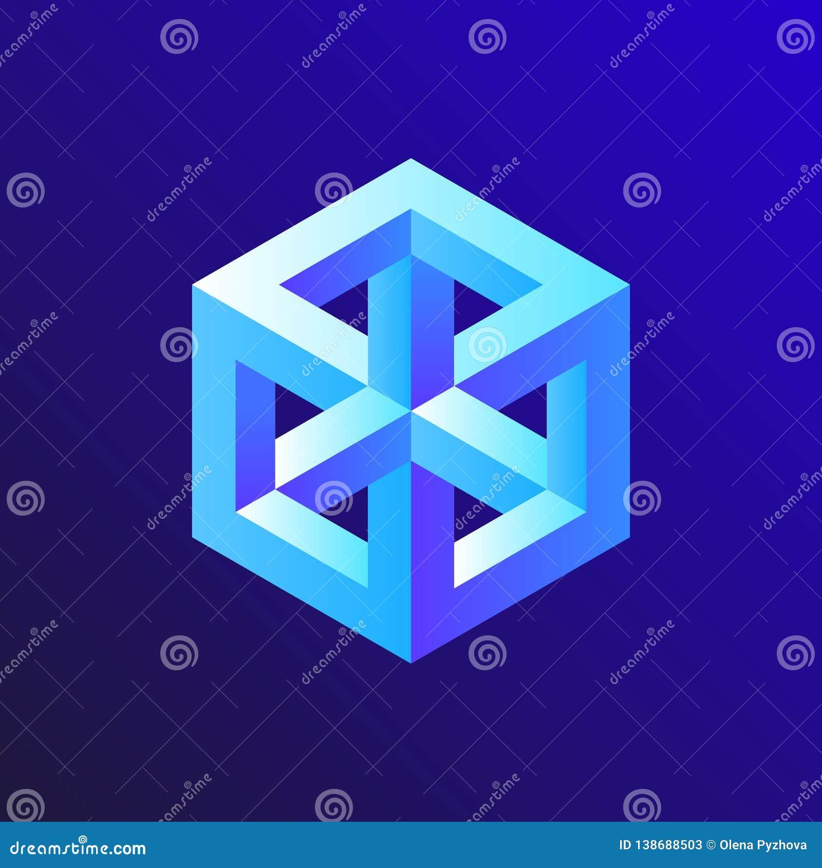 Ejemplo irreal del cubo de la ilusión óptica, dibujo isométrico