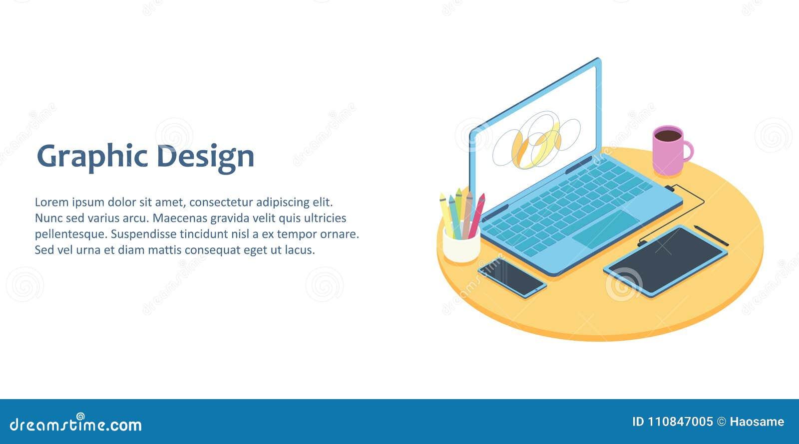 Ejemplo isométrico del lugar de trabajo del diseñador con el ordenador y la tableta de gráficos