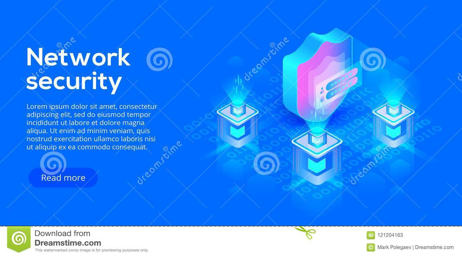 Ejemplo isométrico del vector de la seguridad de datos de la red Servicio en línea