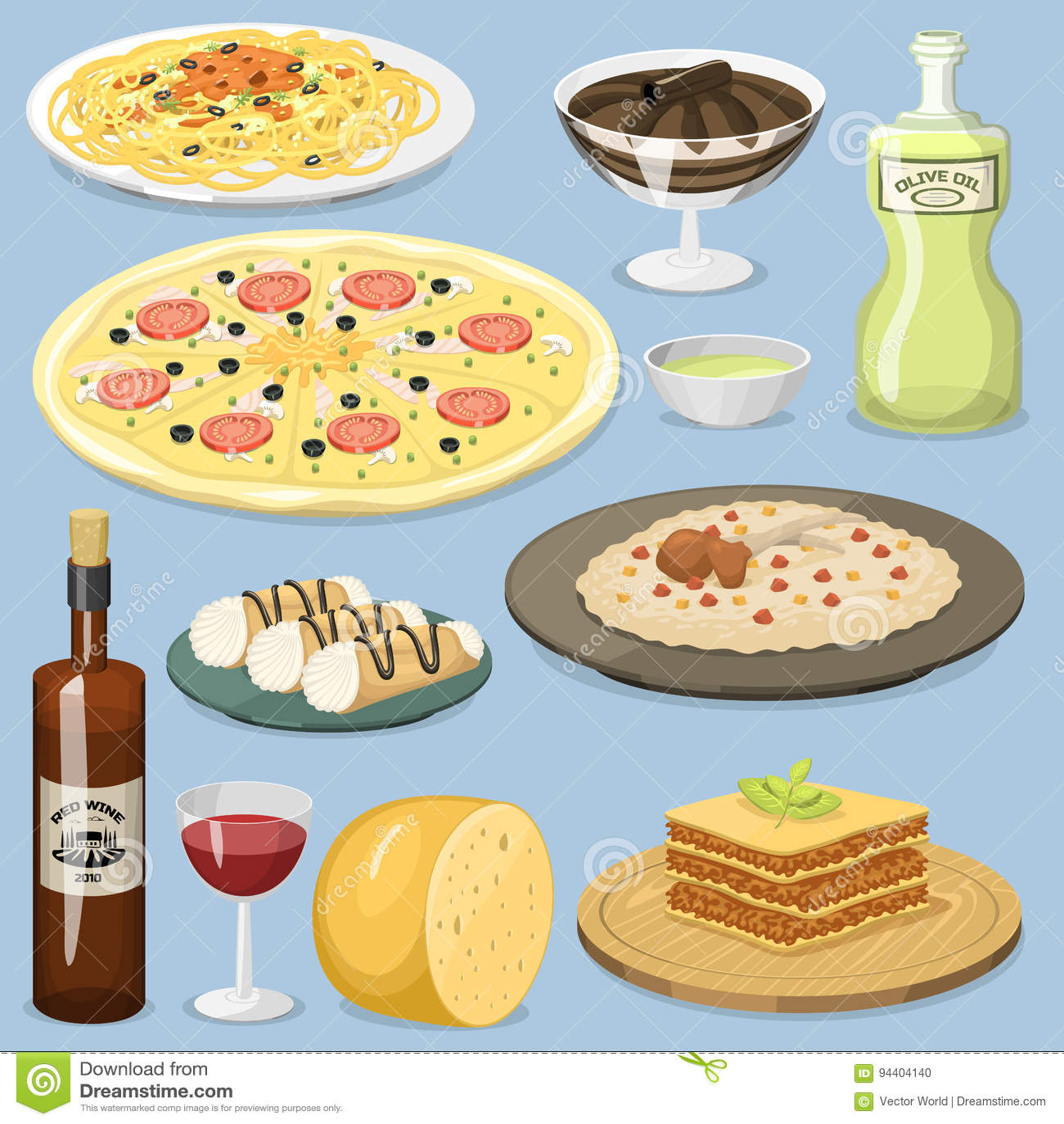 Ejemplo italiano tradicional fresco de cocinar hecho en casa del vector del almuerzo de la cocina de la comida de Italia de la hi