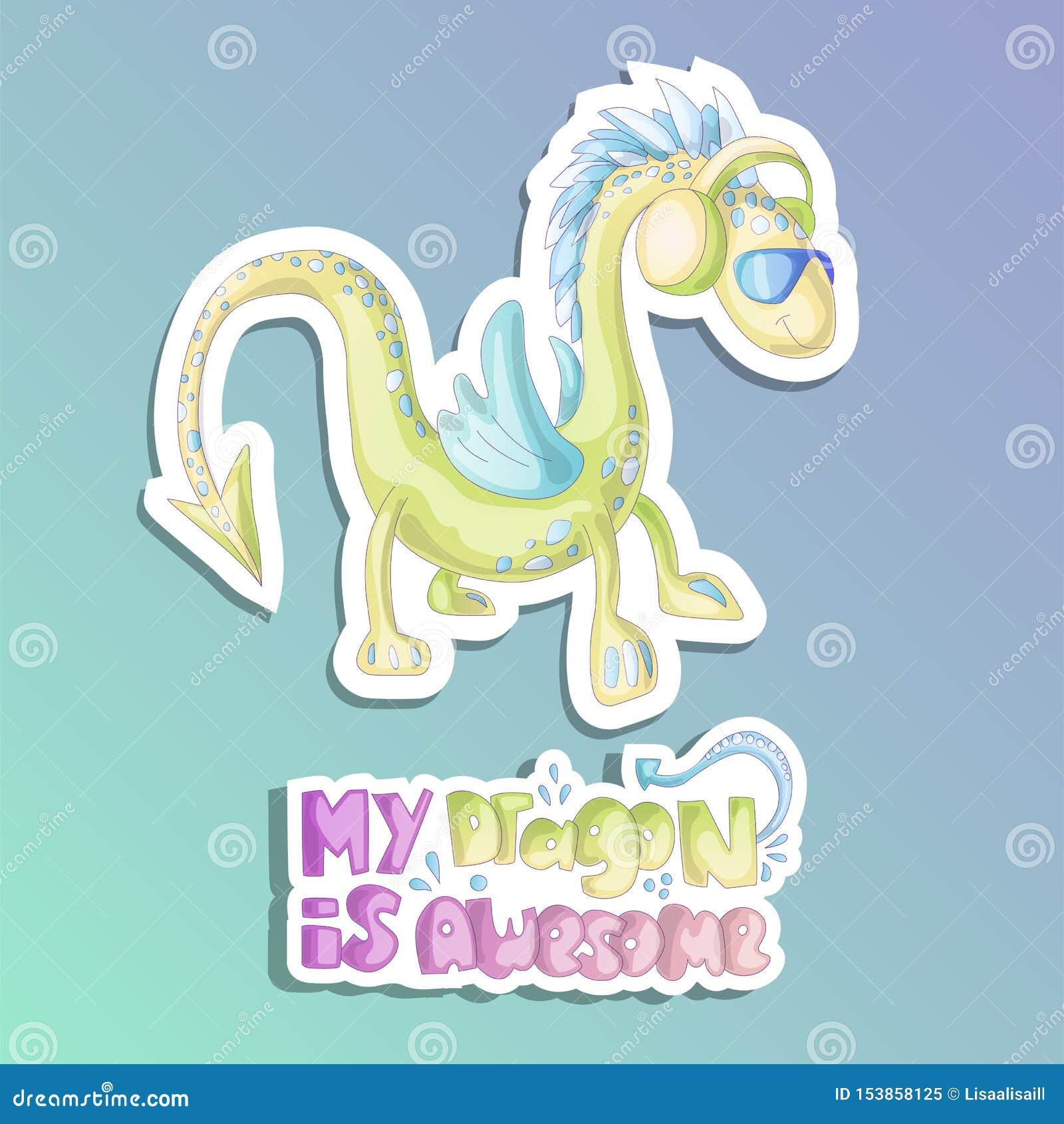 Ejemplo lindo de los dragones de la historieta del dragón verde en vidrios y auriculares Etiqueta engomada del dragón de la histo