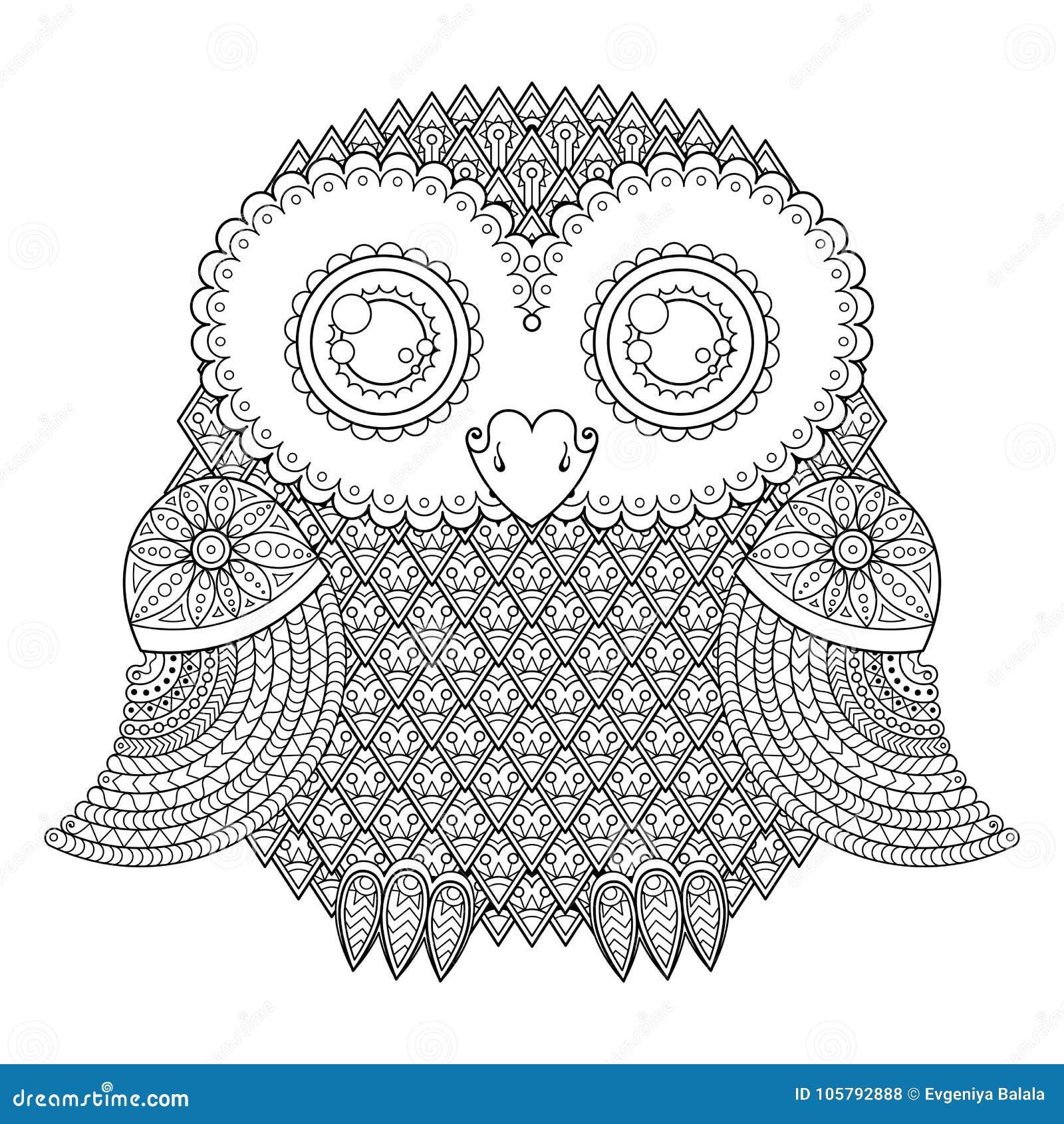 Ejemplo Lindo Del Búho Pájaro Modelado Adornado Imagen Para Colorear