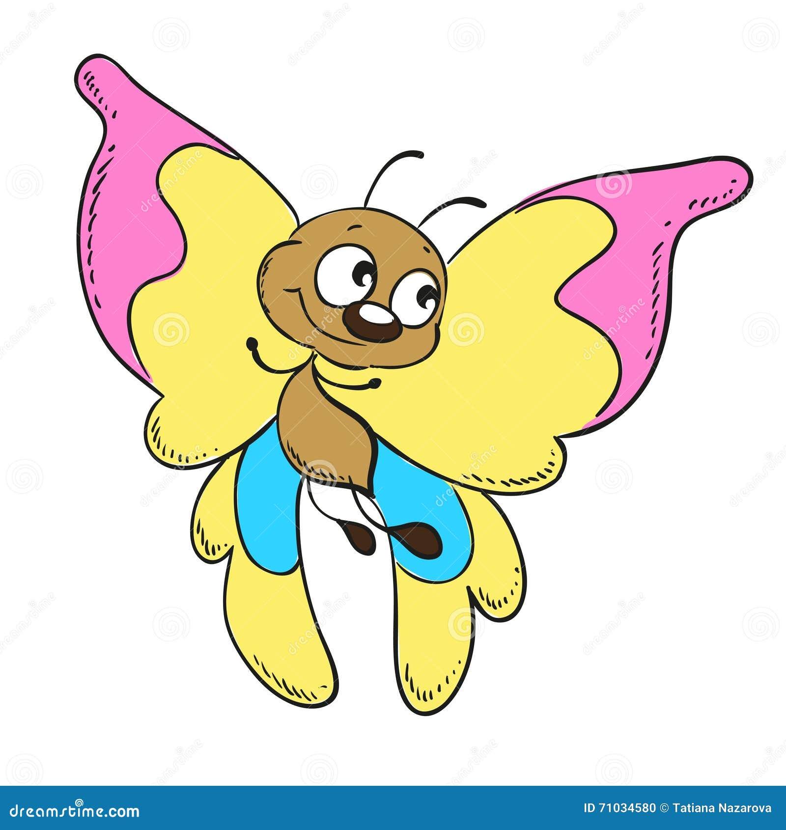 Ejemplo Lindo Del Personaje De Dibujos Animados De La Mariposa Stock ...