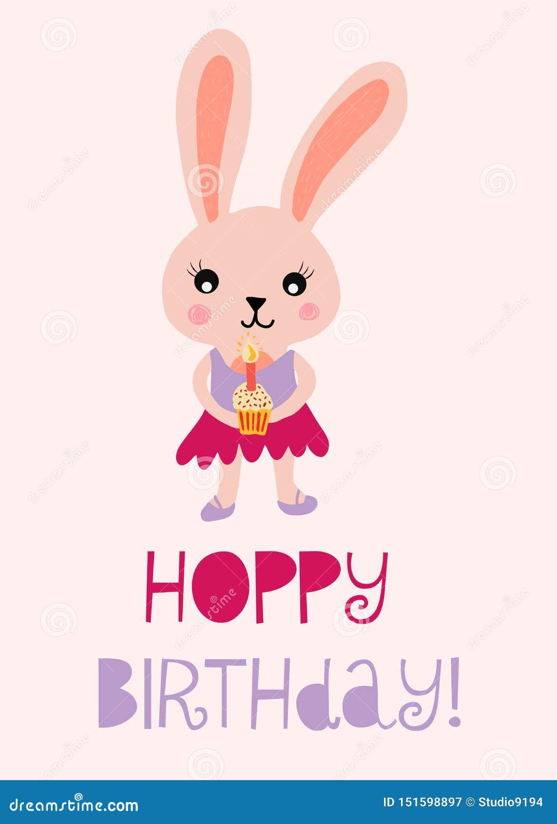 Ejemplo lindo del vector del conejito del feliz cumpleaños para la tarjeta de cumpleaños de los niños Cumpleaños de lúpulo con el