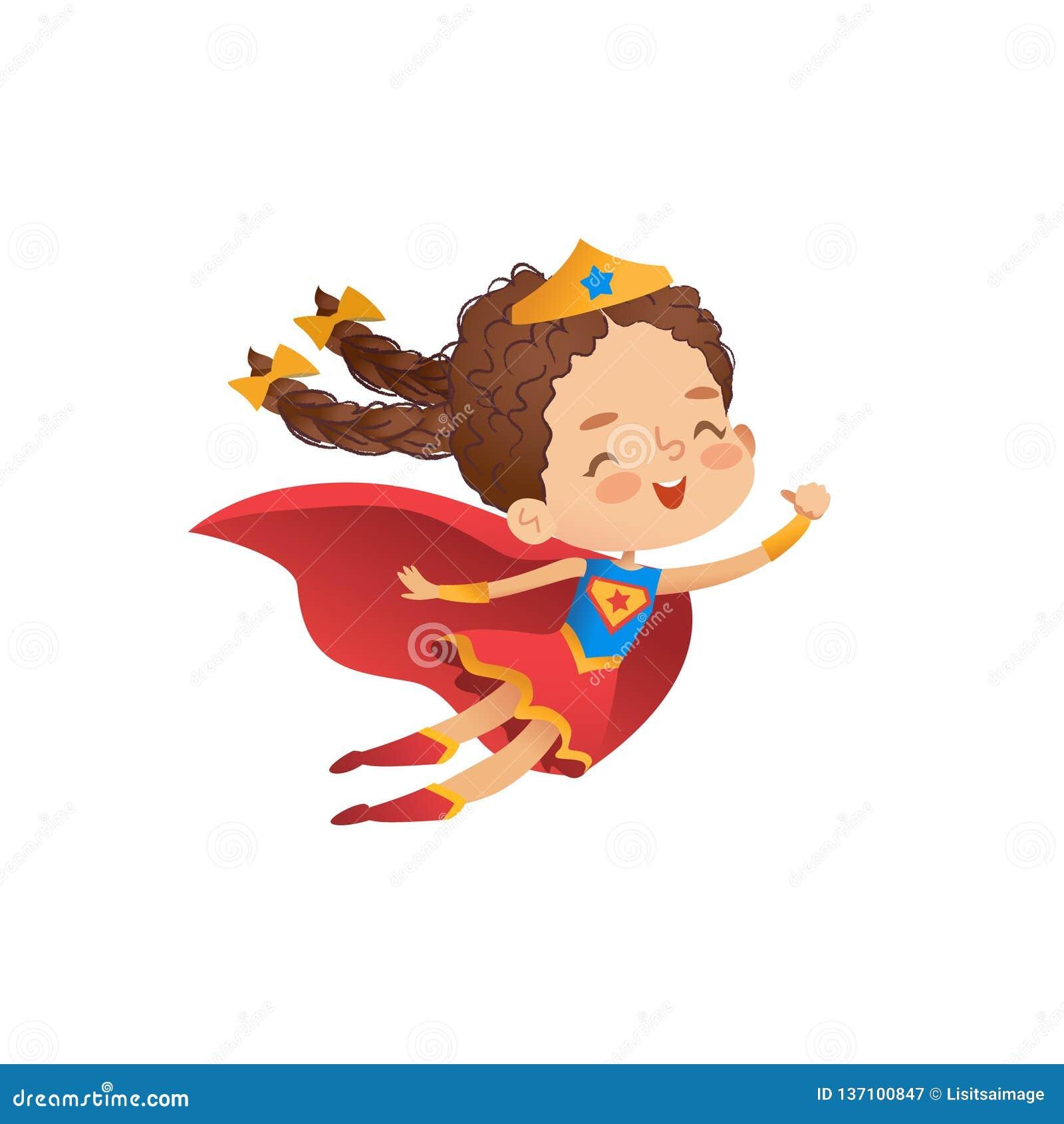 Ejemplo lindo del vector del traje de la muchacha del Superheroine El niño lleva la capa y la corona divertidas Carácter cómico a