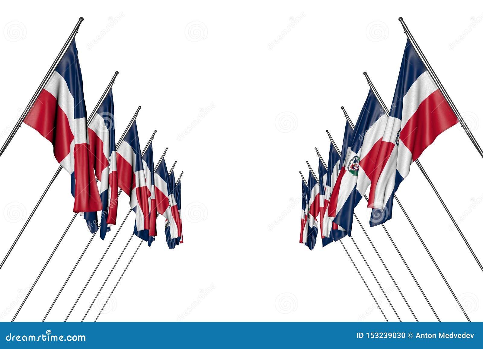 Ejemplo maravilloso de la bandera 3d del día del himno - muchas banderas de la República Dominicana cuelgan encendido en los polo