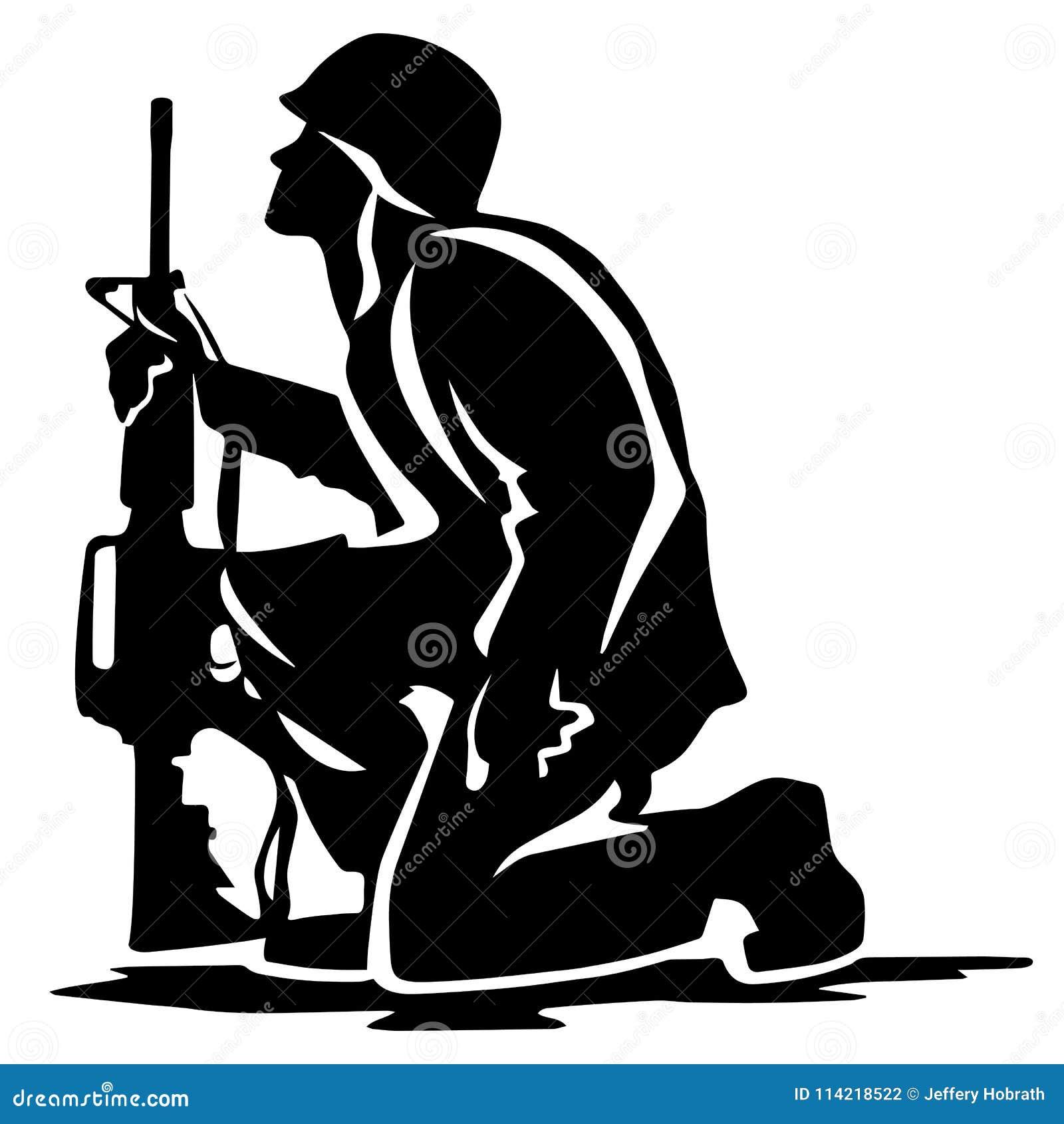 Ejemplo militar de Kneeling Silhouette Vector del soldado