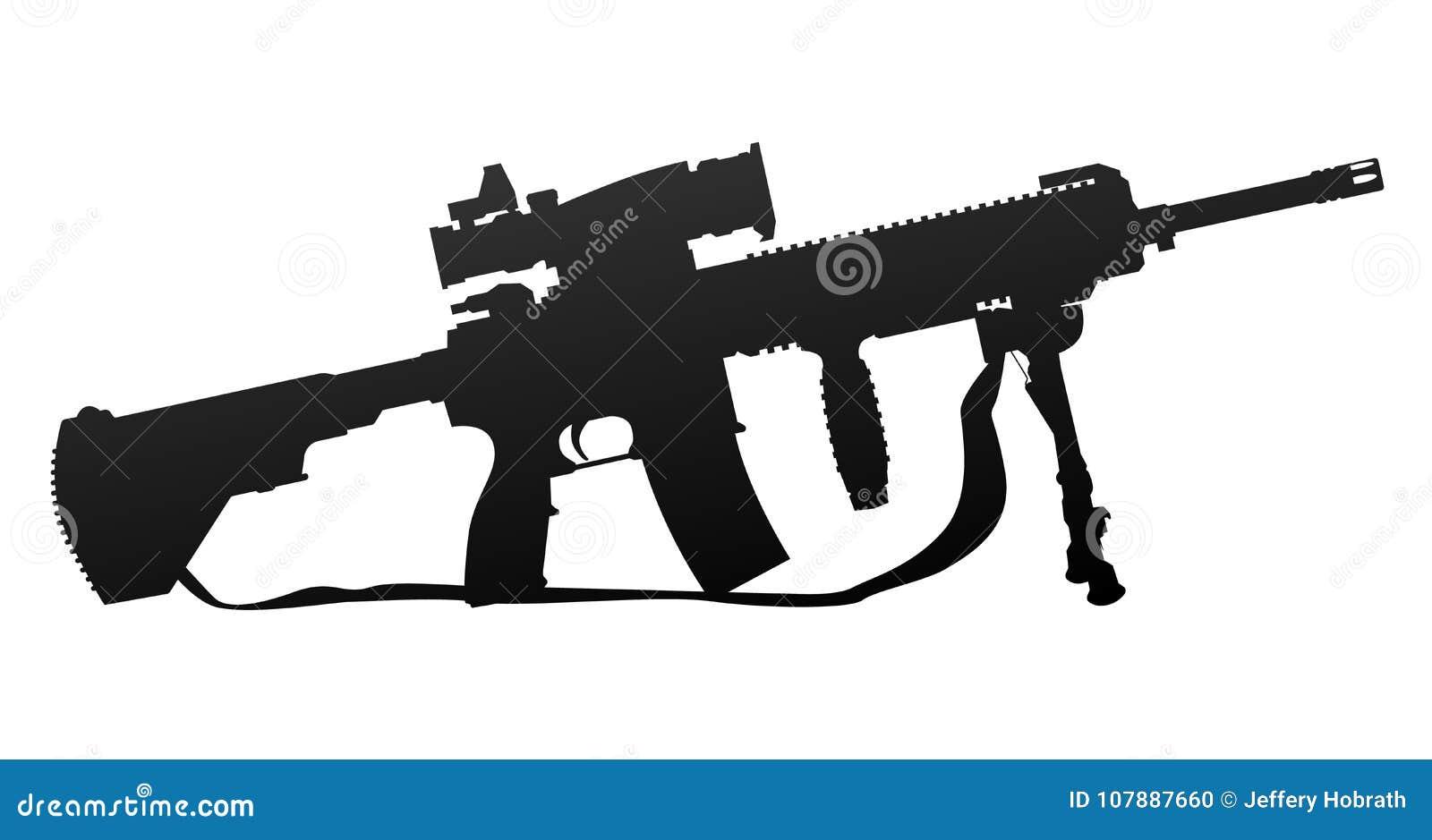 Ejemplo militar del vector de la silueta del rifle automático del estilo
