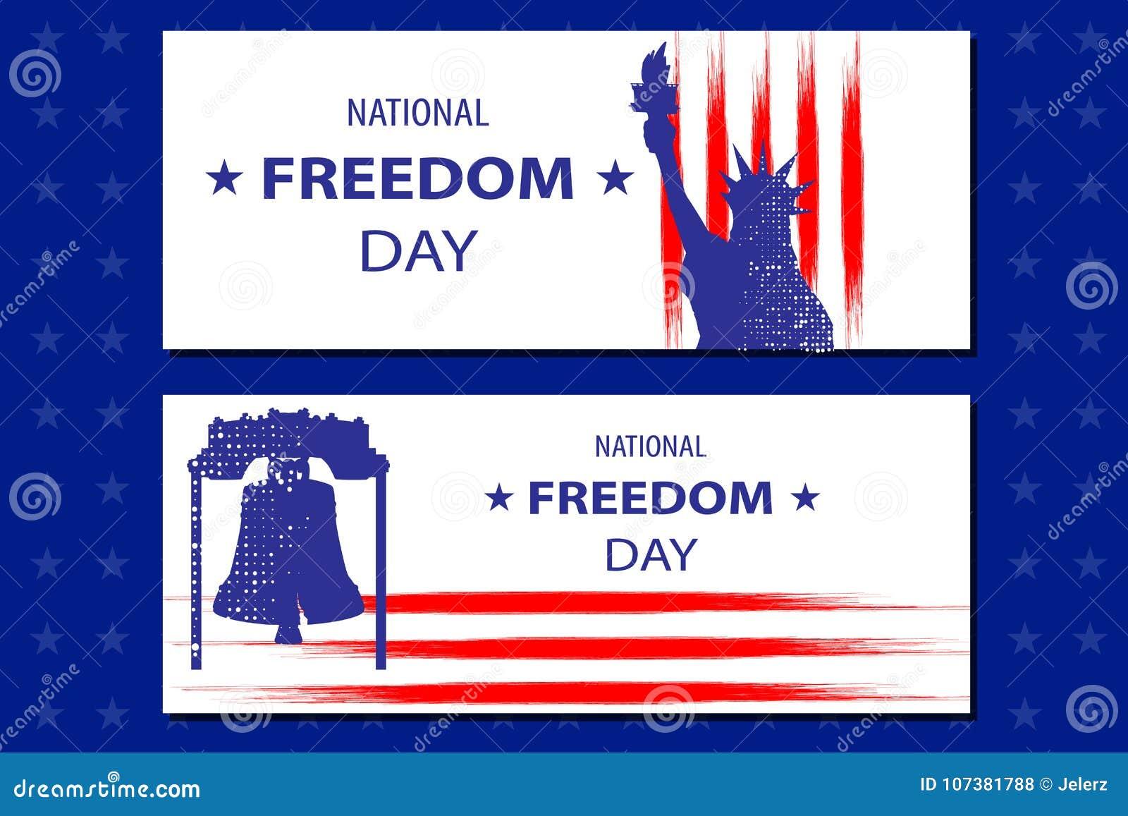 Ejemplo Nacional Del Día De La Libertad Con La Estatua De Libertyll ...