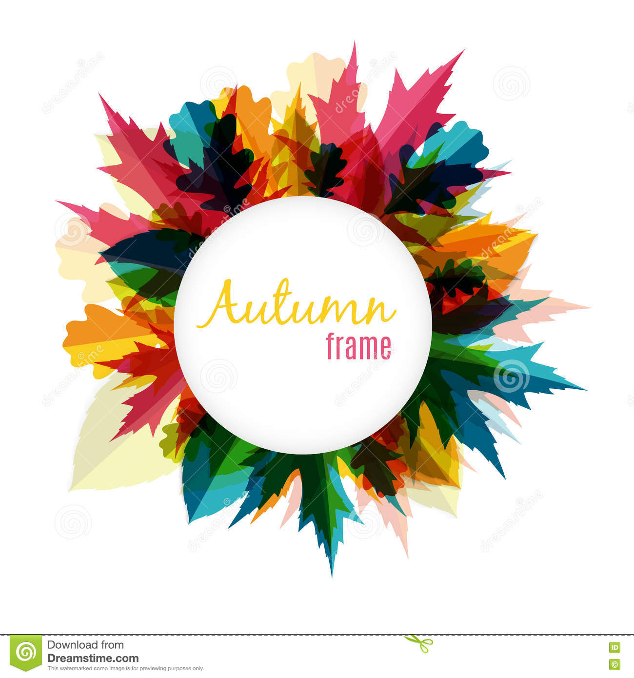 Ejemplo natural de Sunny Autumn Leaves Frame Background Vector