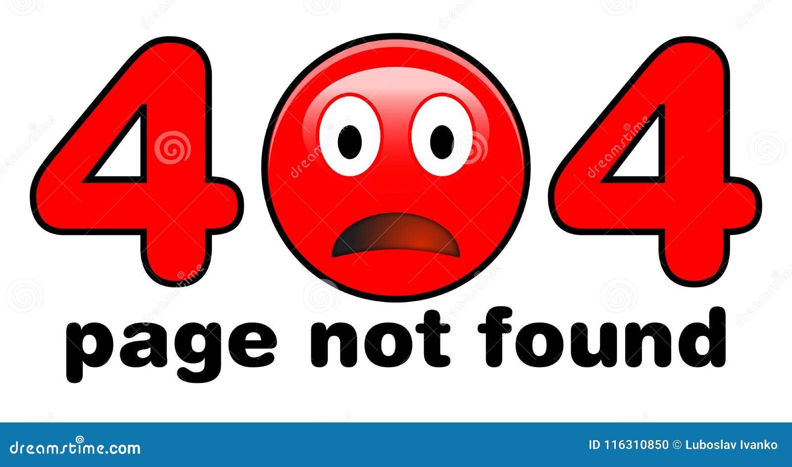 Ejemplo No Encontrado De 404 Páginas Cara Triste Roja Del Emoji En