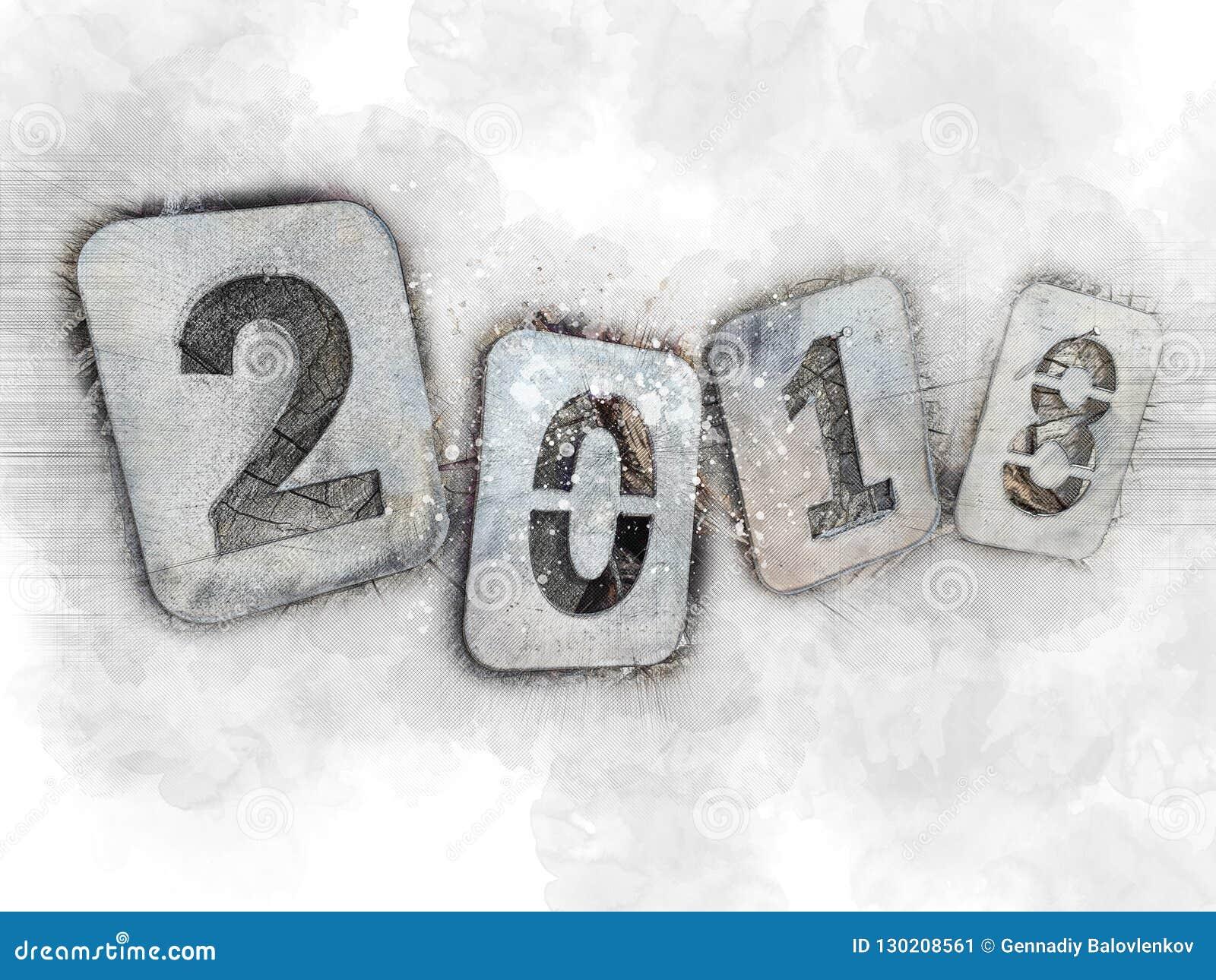 Ejemplo nostálgico para los días de fiesta de la Navidad, adiós 2018 Números del hierro en una pila de leña