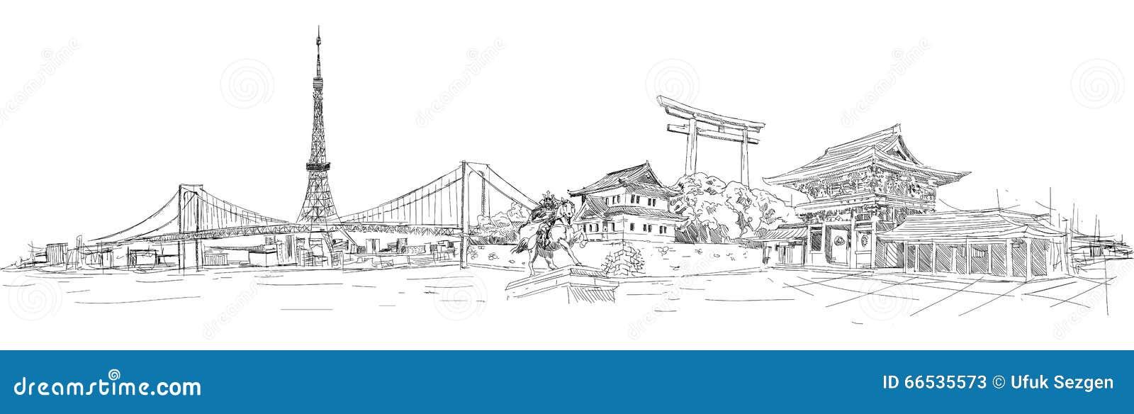 Ejemplo Panorámico De TOKIO Ilustración del Vector - Ilustración de ...