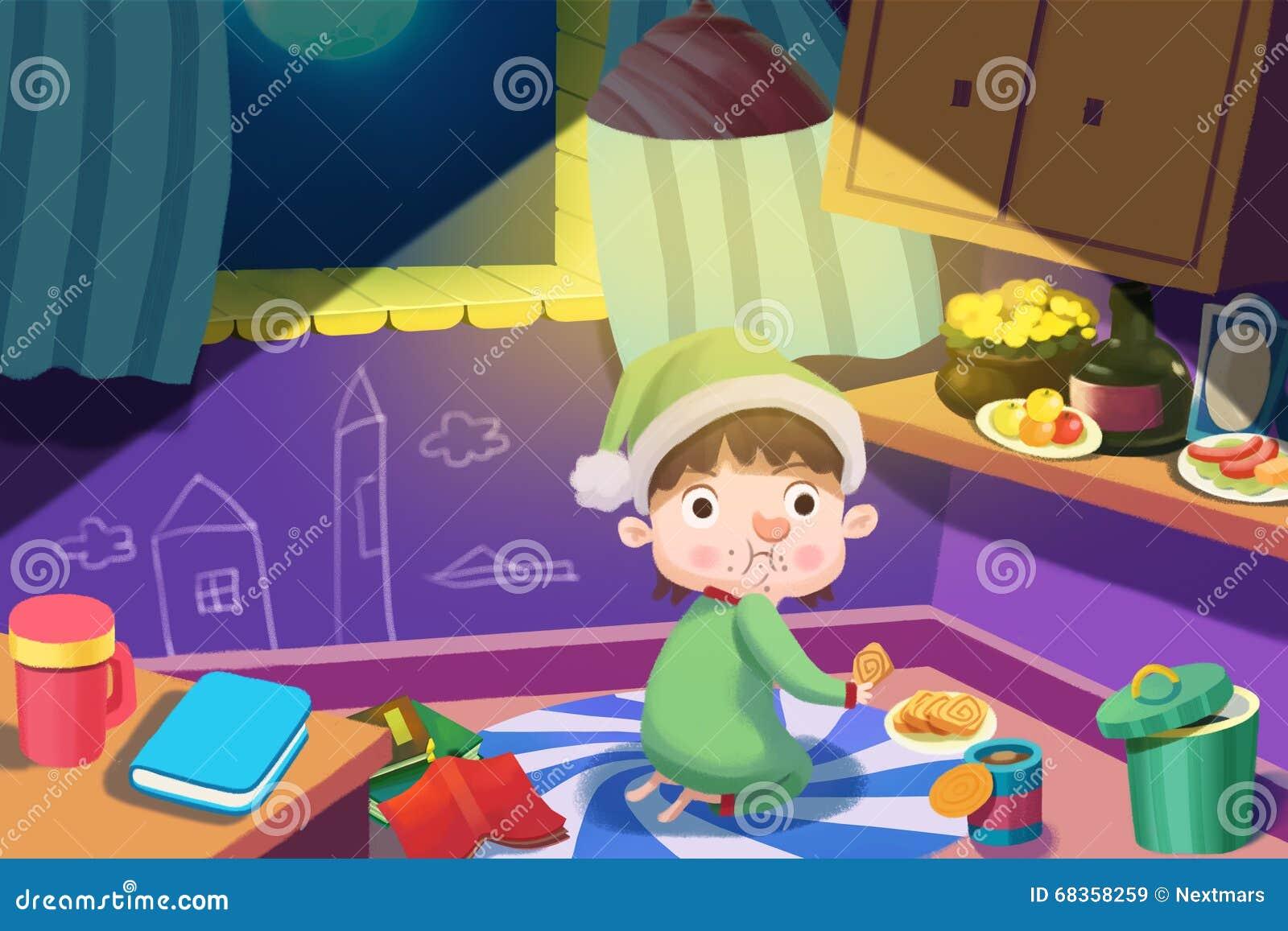 Ejemplo para los niños: ¡El muchacho hambriento consigue hasta roba un poco de comida en la noche, pero fue cogido en el acto!