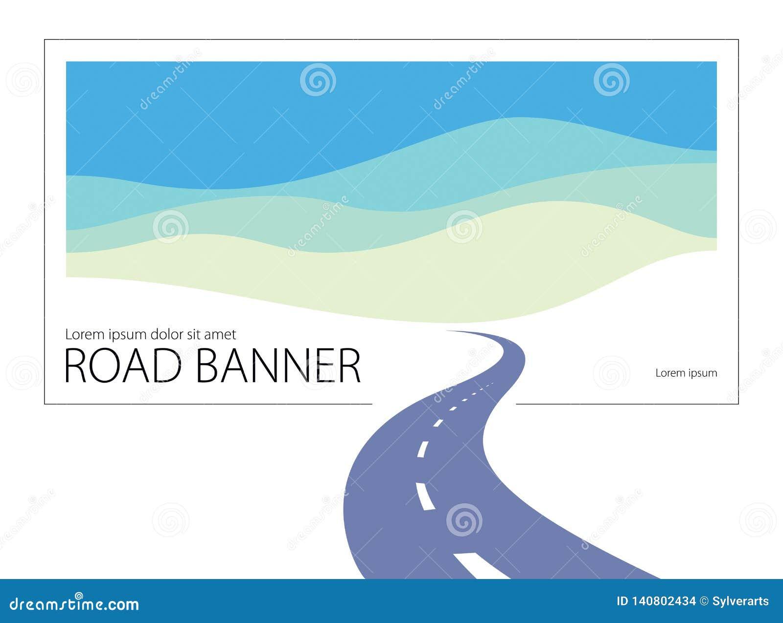 Ejemplo perfecto curvado carretera nacional del diseño del vector de la carretera La manera a la naturaleza, a las colinas y a lo