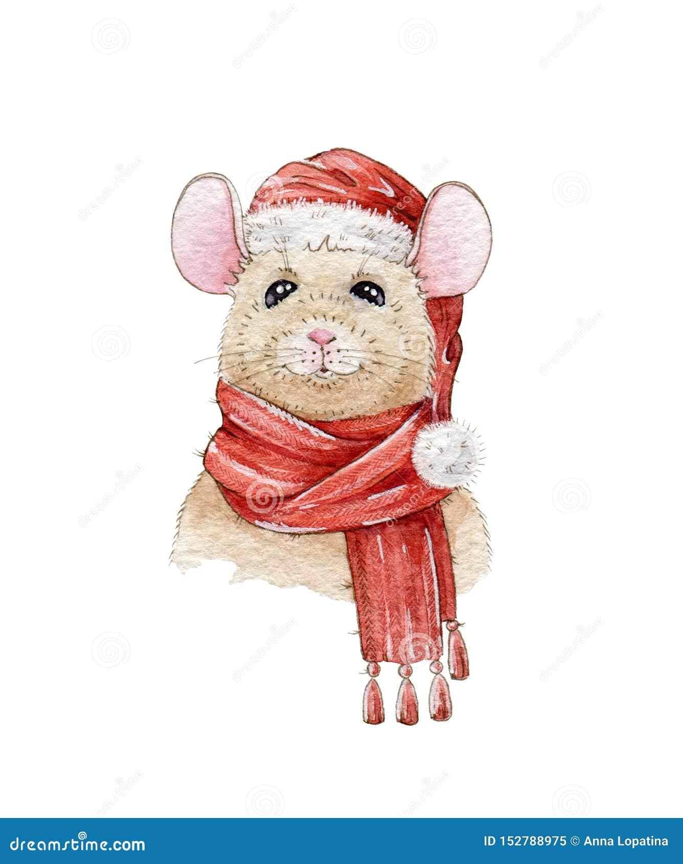 Ejemplo pintado a mano de la acuarela de la Navidad de un ratón agradable en un sombrero rojo y una bufanda caliente Un símbolo c