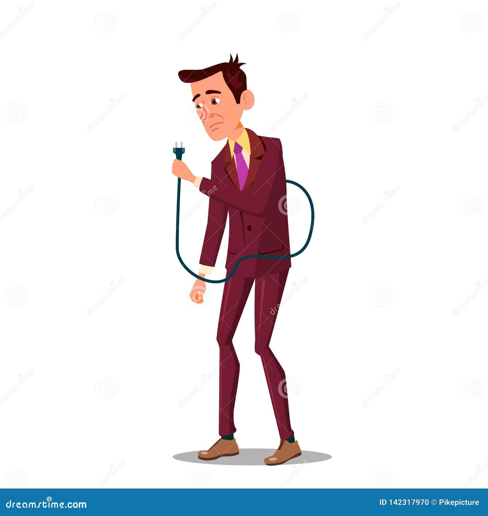 Ejemplo plano de la historieta del hombre de negocios del vector disponible cansado triste de Holding Power Cord