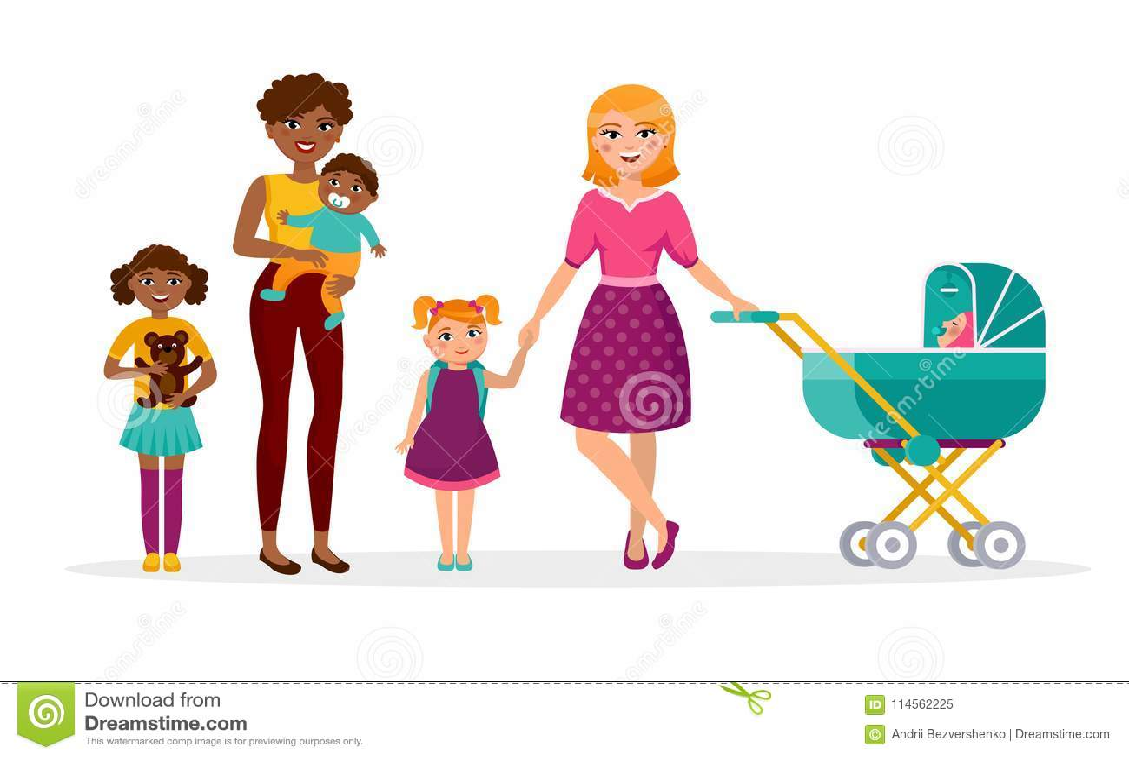 Ejemplo plano de la madre s del día del vector feliz del concepto Dos madres con los niños están caminando Caucásico y africano