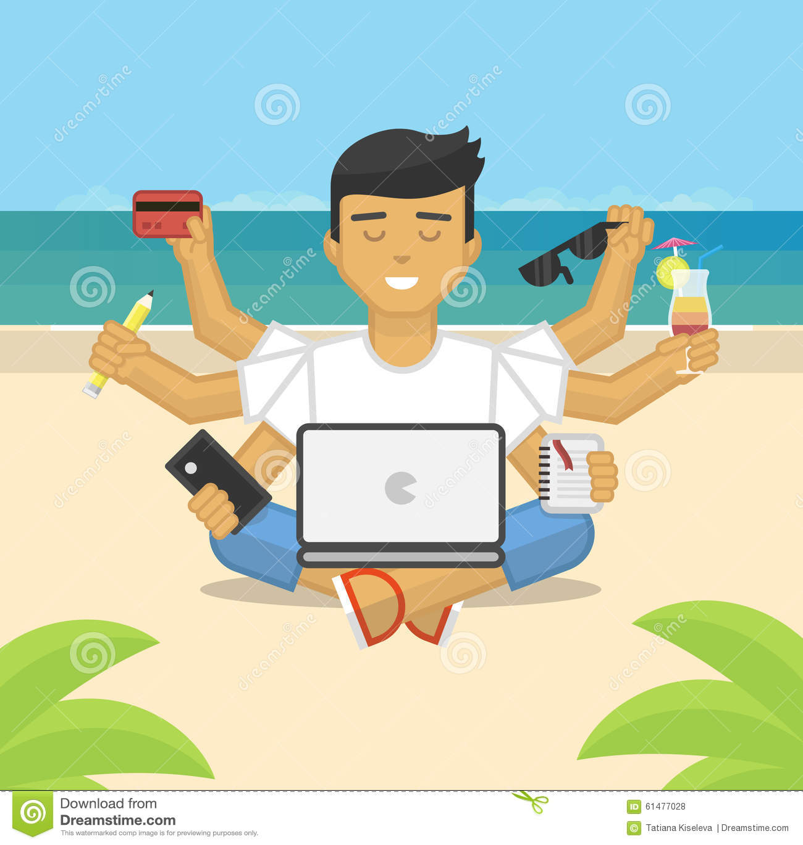 Ejemplo plano de meditar al freelancer que trabaja en la playa