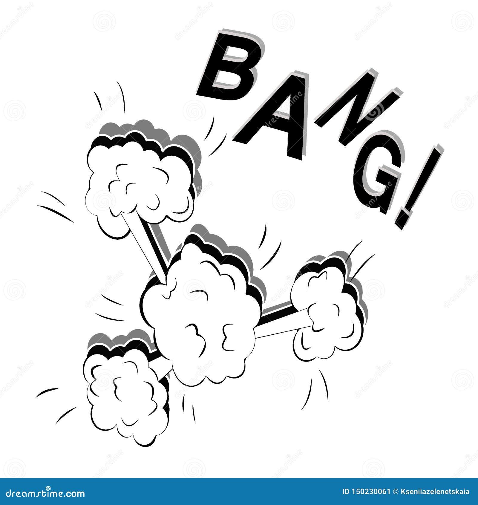 Ejemplo plano de una explosión grande fuerte en un estilo del cómic aislado en un fondo blanco Vector del arte pop