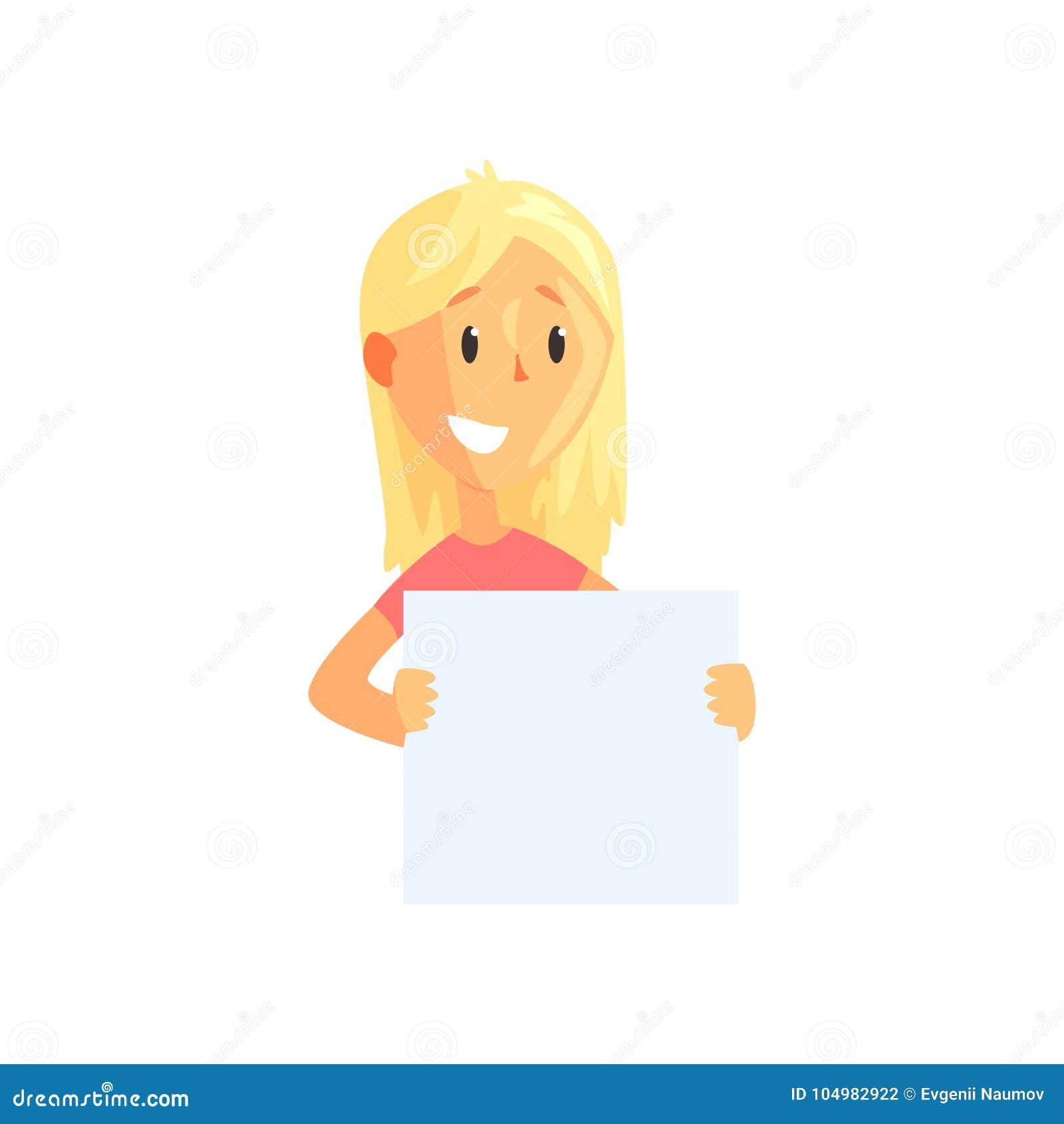 Ejemplo plano del vector de la hembra joven con el cartel en blanco en manos Carácter rubio de la muchacha de la historieta con s
