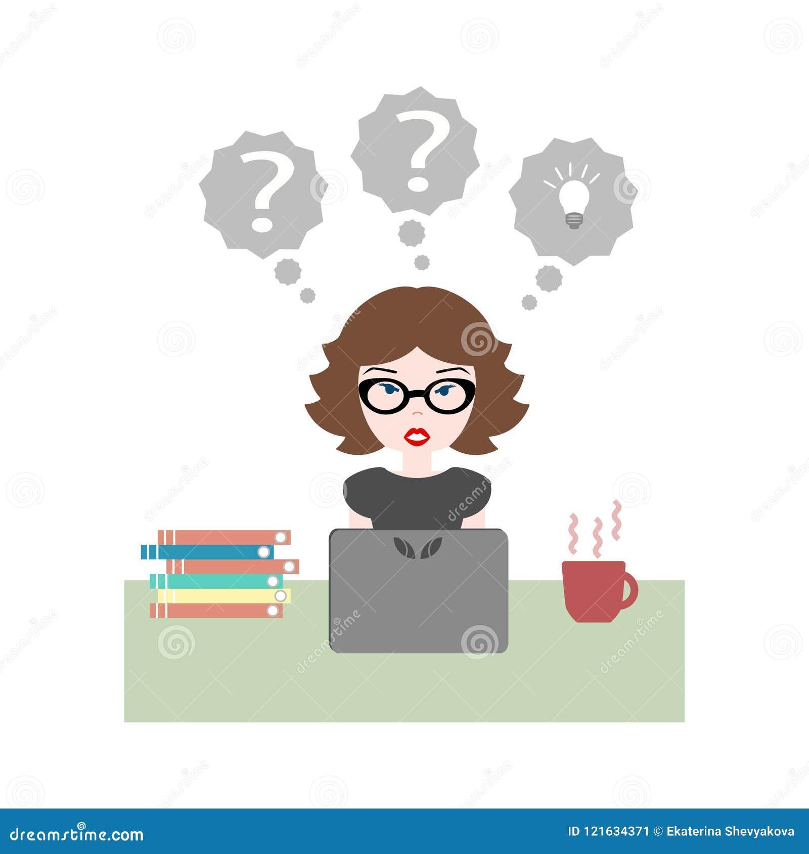 Ejemplo plano del vector de la muchacha que se sienta en el trabajo en el escritorio con la