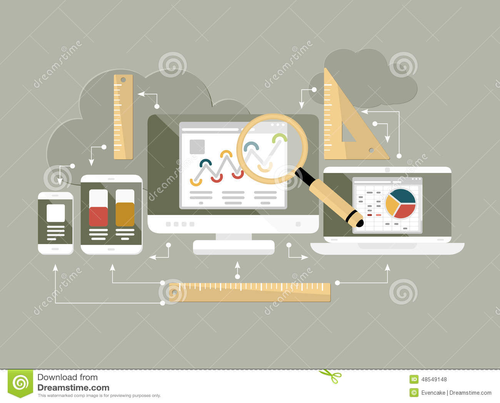 Ejemplo plano del vector del analytics del sitio web del diseño