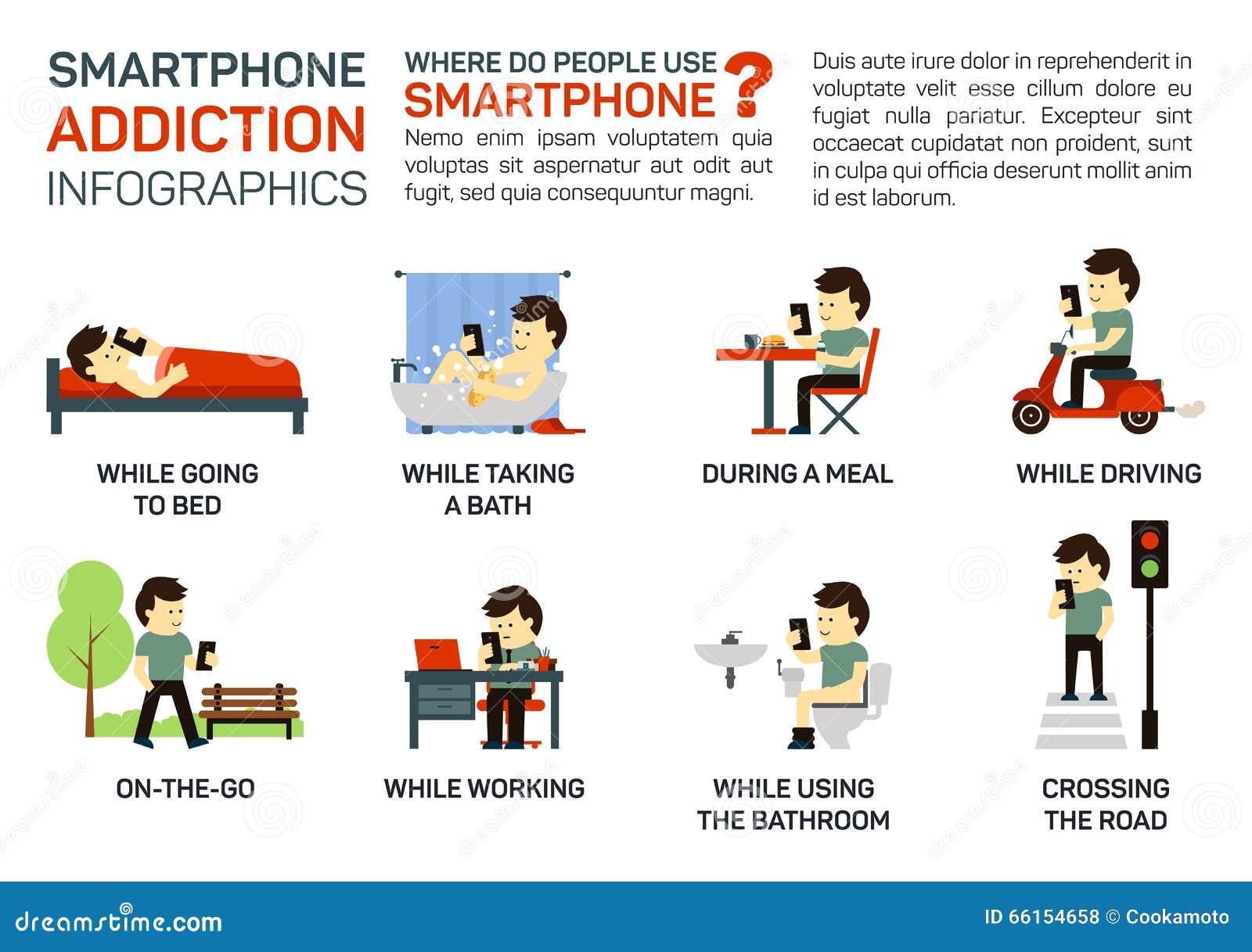 Ejemplo plano del vector del apego del smartphone Peligro de usarlo al irse a la cama, teniendo una comida, conducción, trabajand