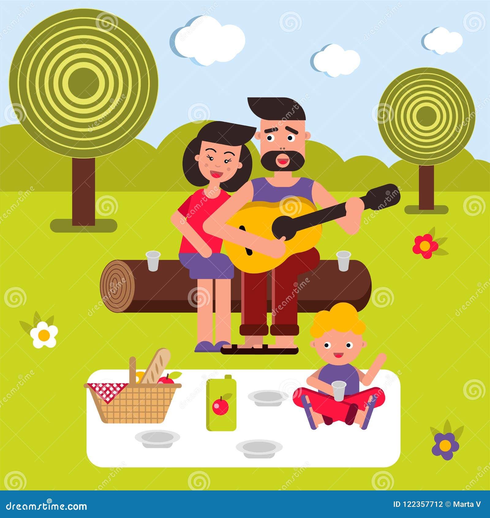 Ejemplo plano del vector, historieta del estilo Familia feliz joven en una comida campestre Mama, papá y bebé Una canción con una