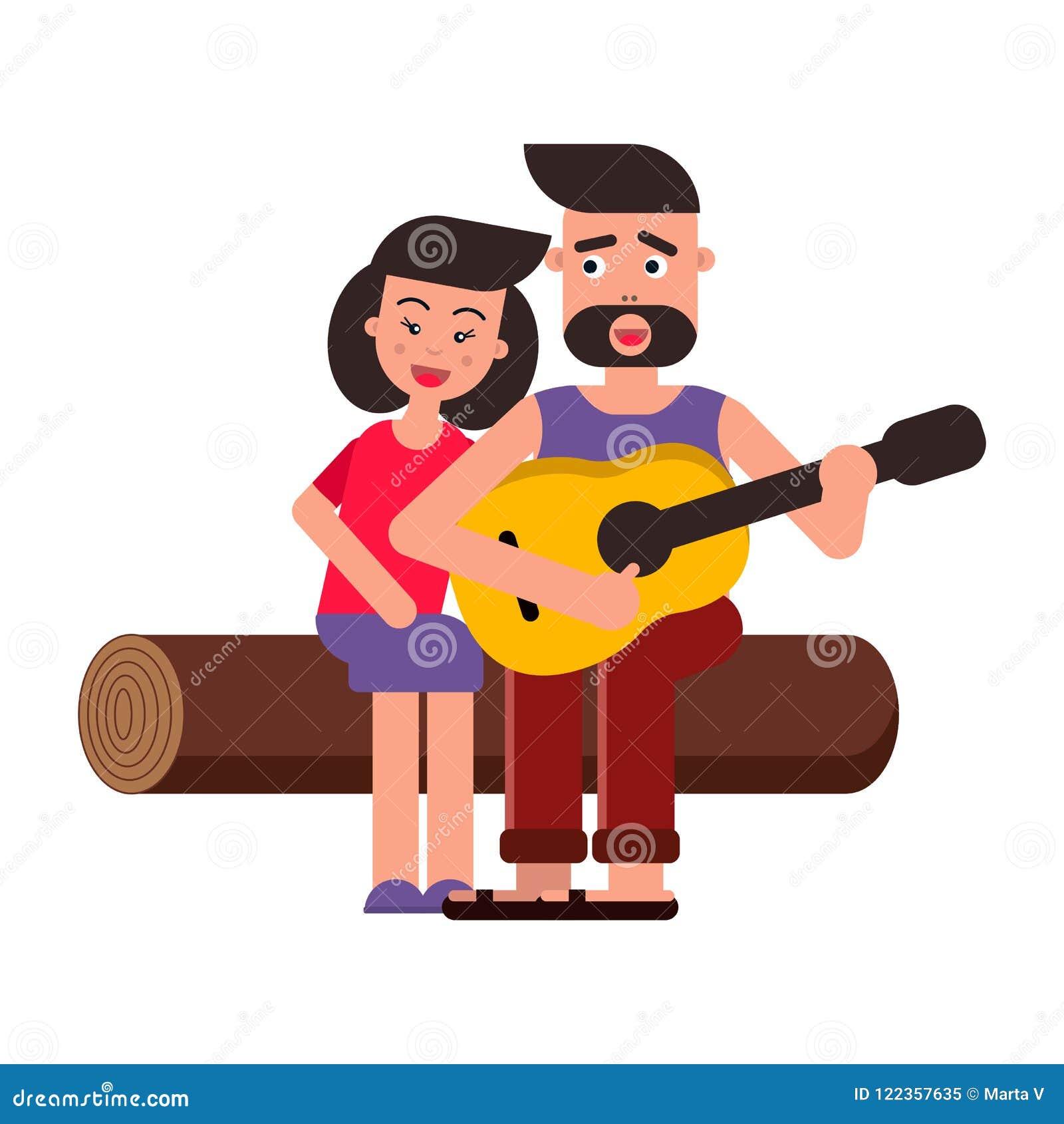 Ejemplo plano del vector, historieta del estilo Familia feliz joven en una comida campestre Un par en amor, canciones y guitarra