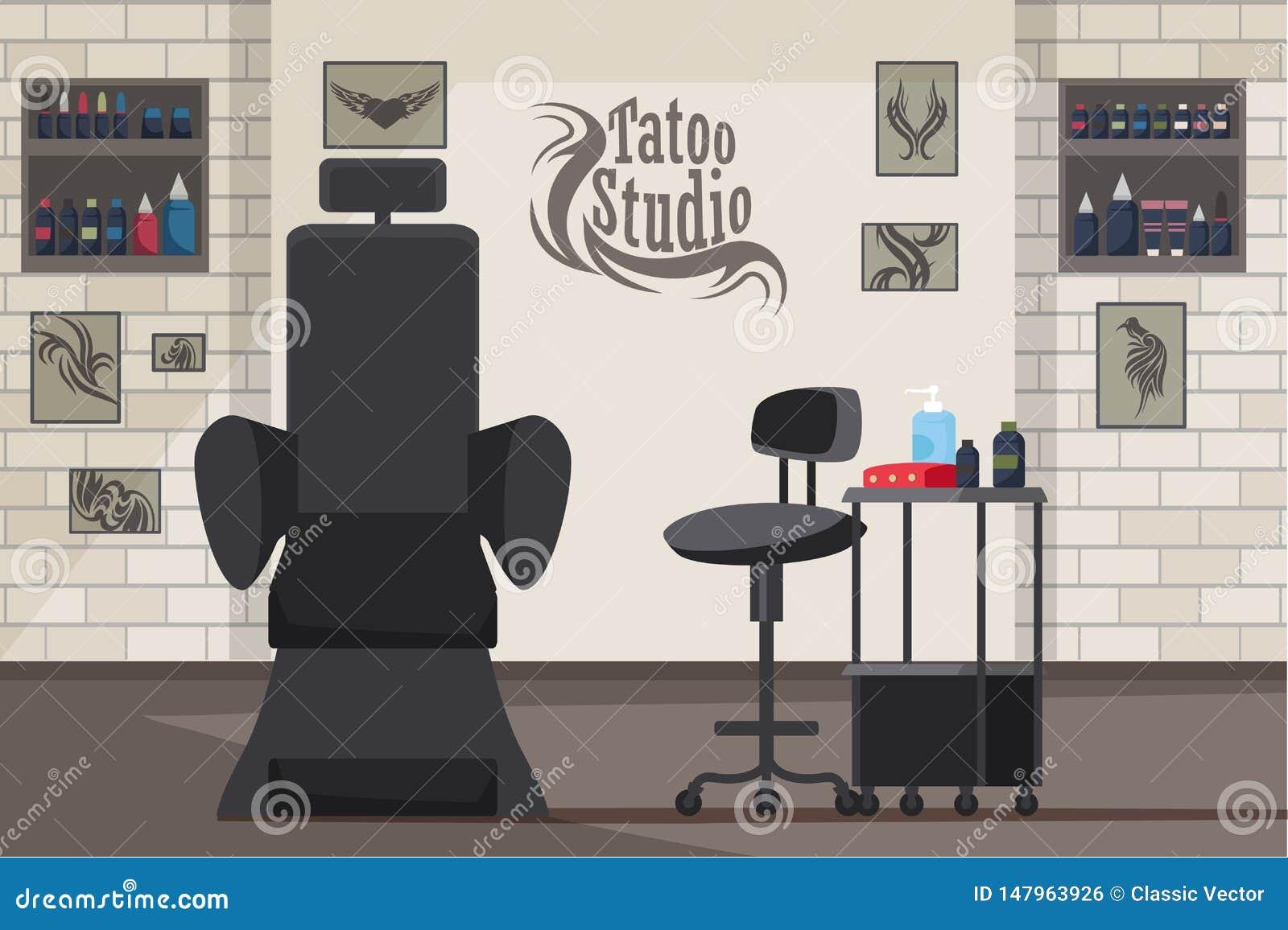 Ejemplo plano interior del vector del estudio del tatuaje