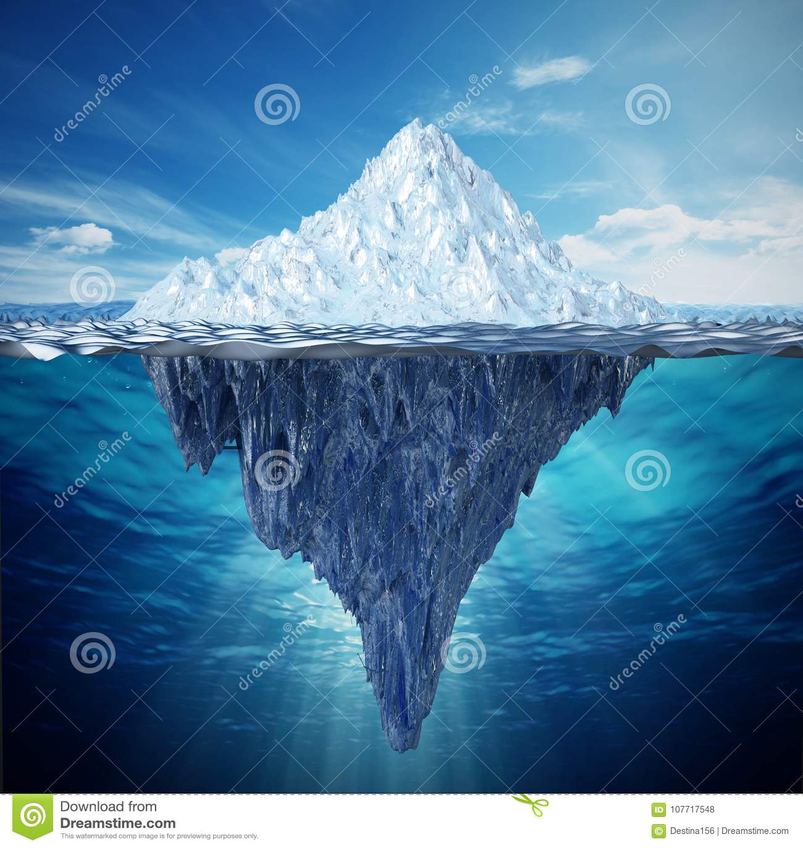 Ejemplo realista 3D de un iceberg ilustración 3D