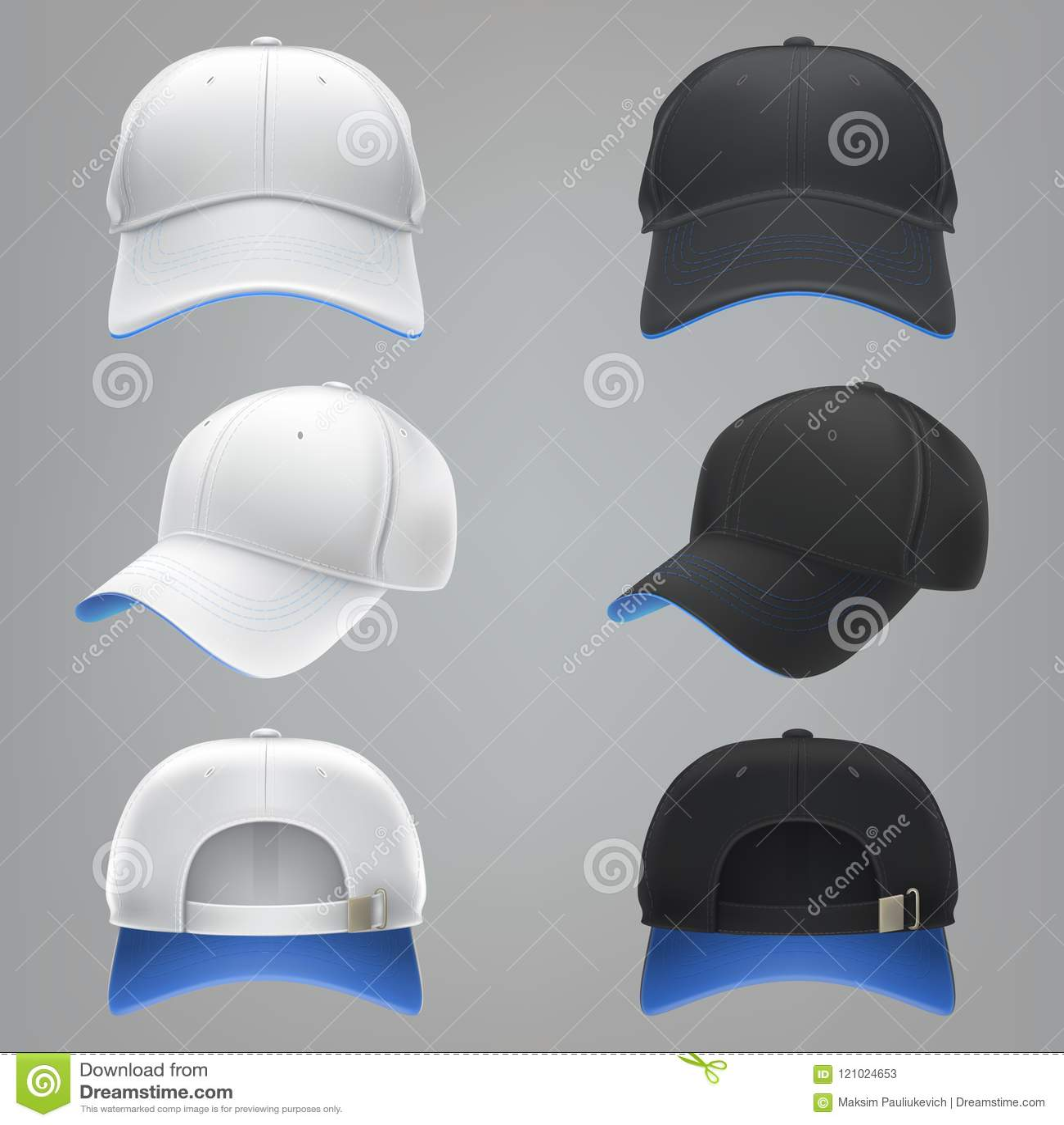Ejemplo realista de un frente blanco y negro de la gorra de béisbol de la  materia e82a7171530