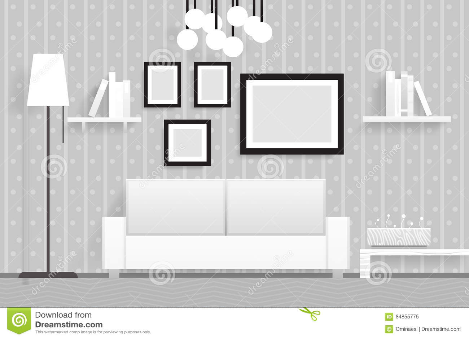 Ejemplo realista interior del vector del diseño de los muebles 3d de la sala de estar