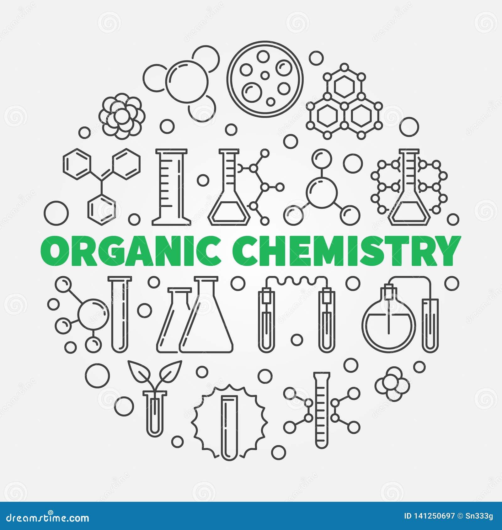 Ejemplo Redondo Del Vector De La Química Orgánica En La Línea Estilo