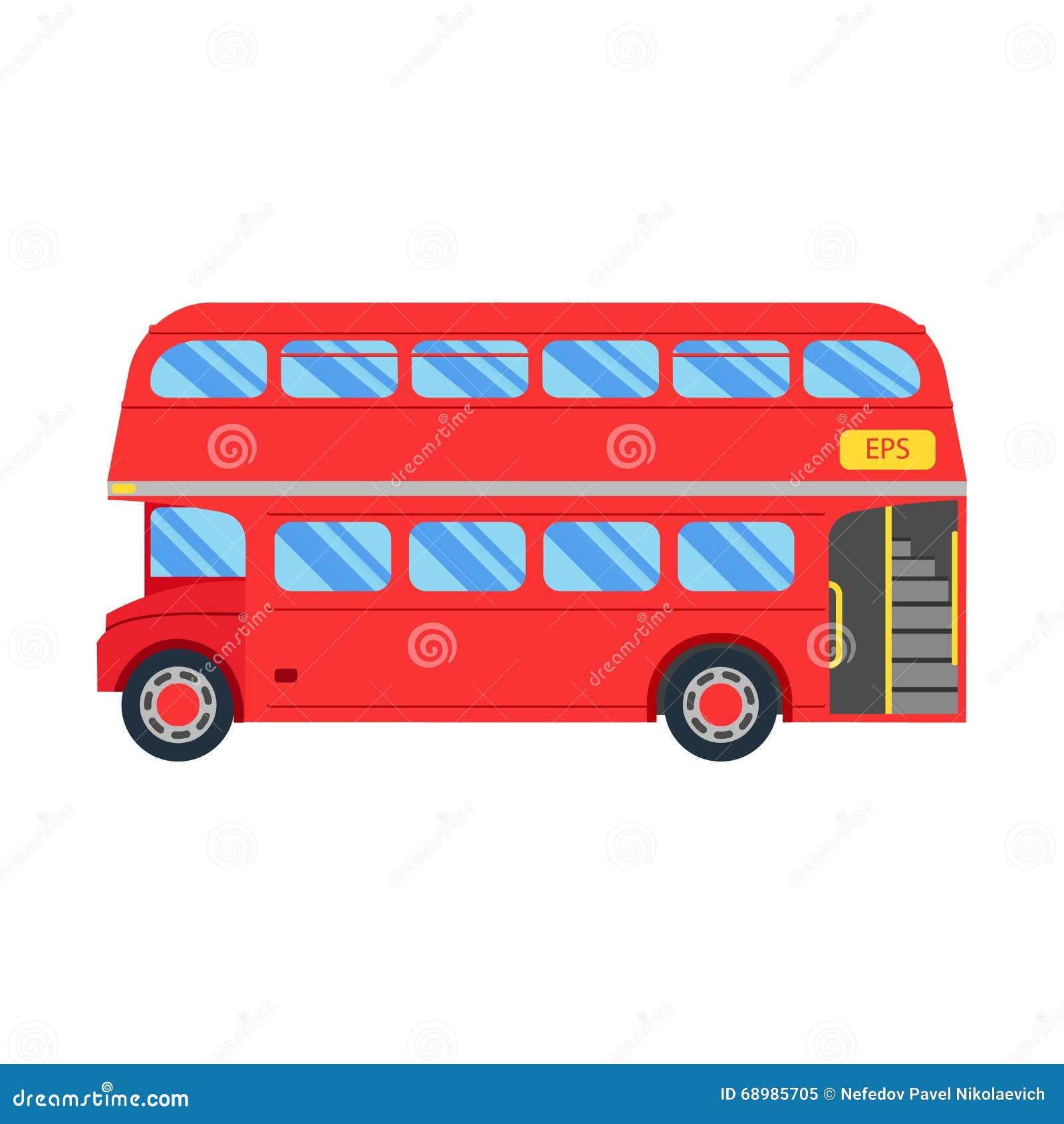 Ejemplo rojo del autobús del autobús de dos pisos, diseño plano Autobús retro del vehículo del servicio de transporte público de